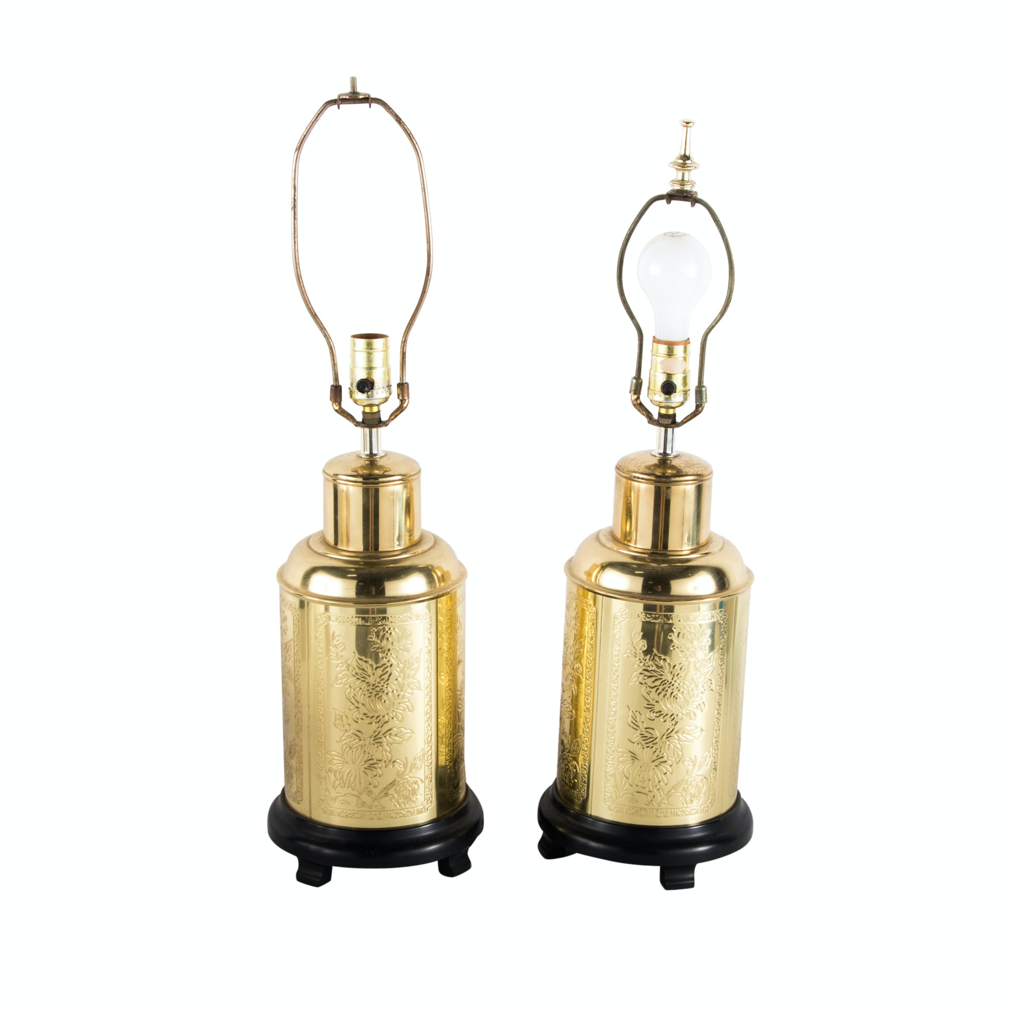 Pair of Gilt-Metal Tea Canister table lamps, 20th Century