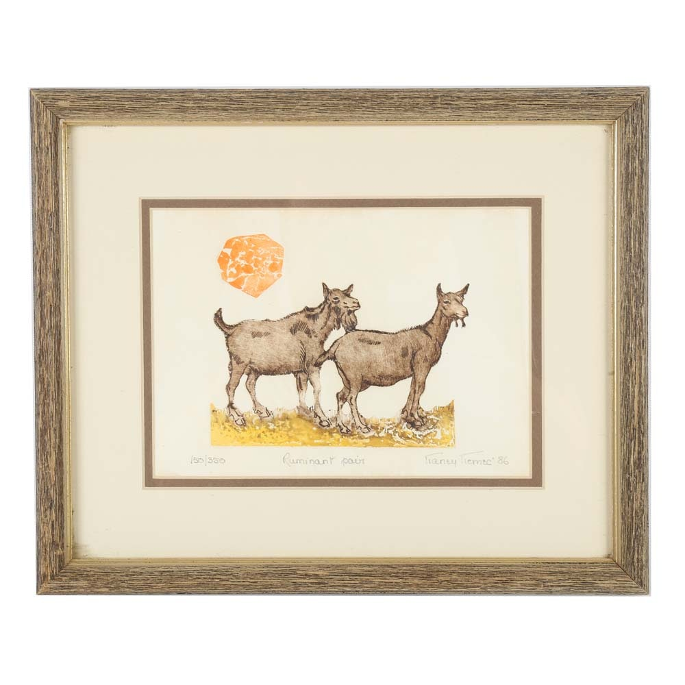 "1986 Nancy Nemec Lithograph ""Ruminant Pair"""