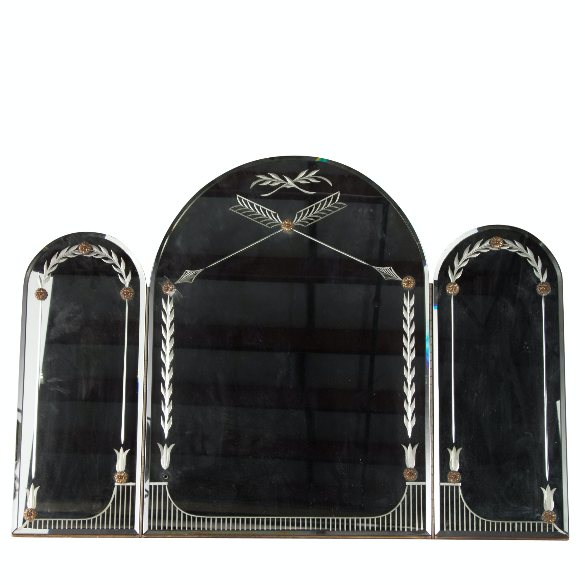 Art Deco Etched Glass Three Section Vanity Mirror, Circa 1940