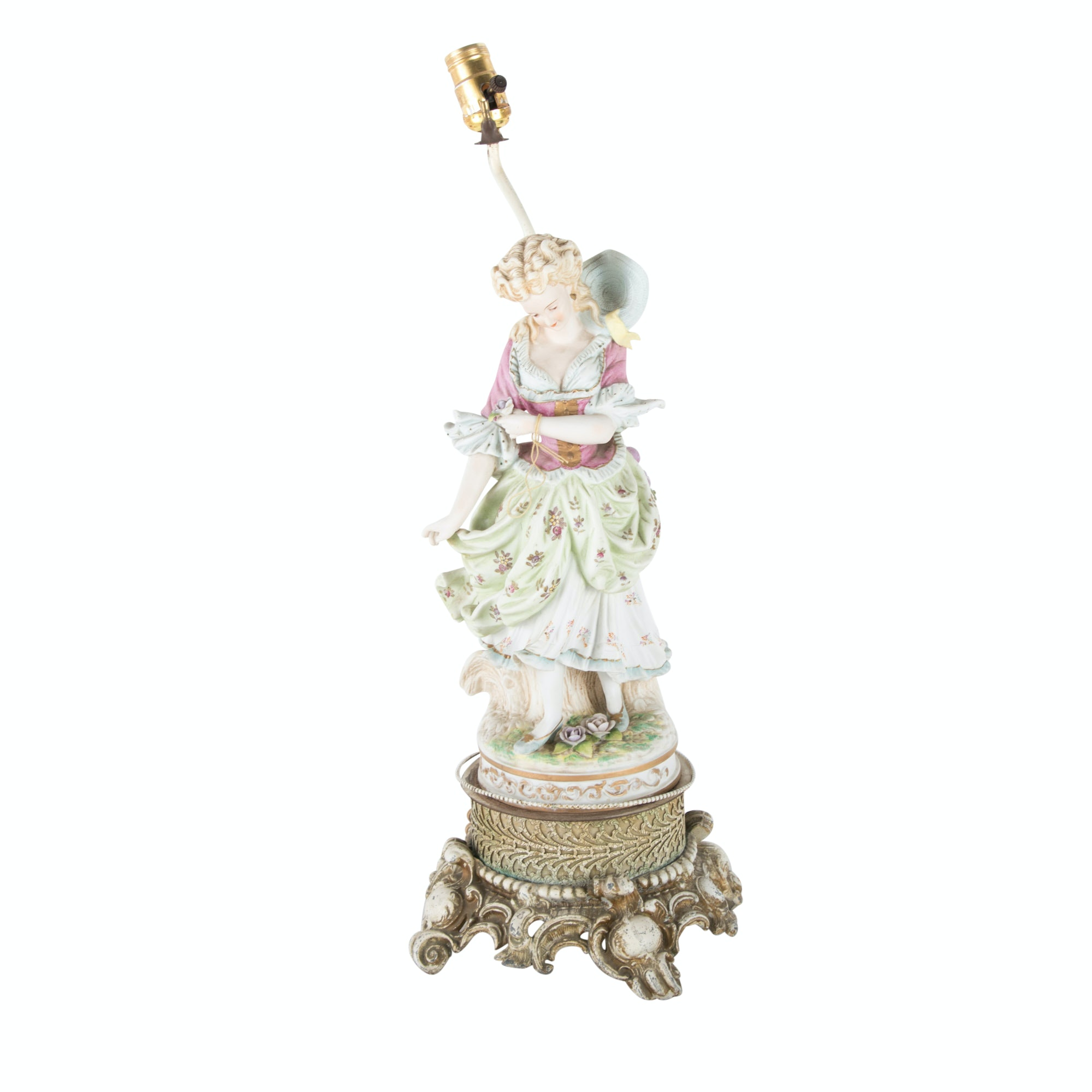 German Bisque Porcelain Figure Mounted as a Lamp, 20th Century