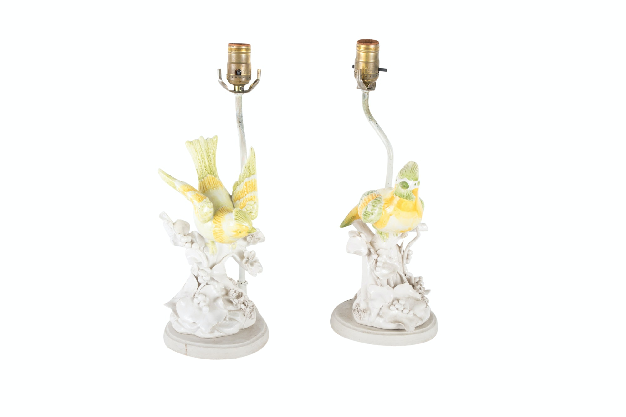 Pair of Porcelain Bird Figurines Mounted as Table Lamps, 20th Century