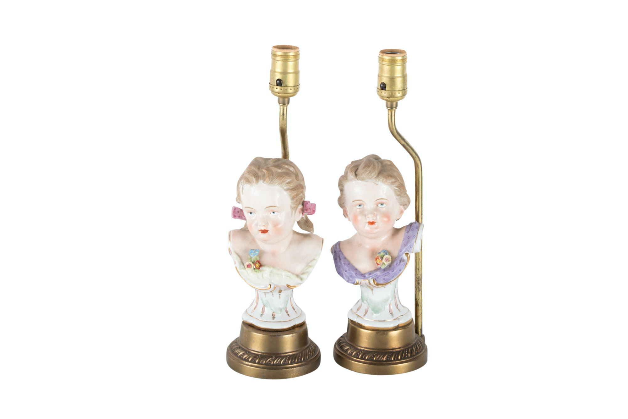 Pair of German Porcelain Busts Mounted as Lamps, 20th Century