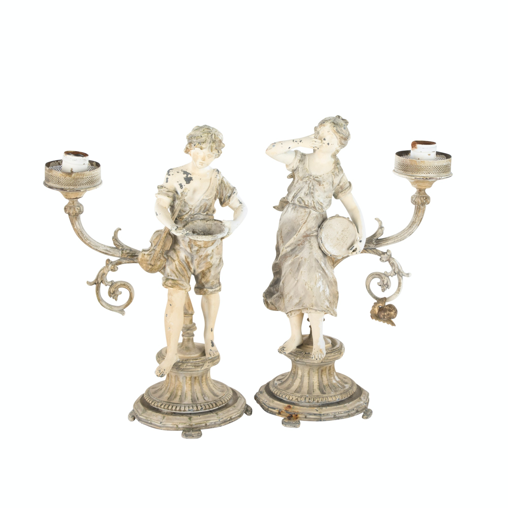 Pair French Painted Spelter Figural Table Lamps, Early 20th Century