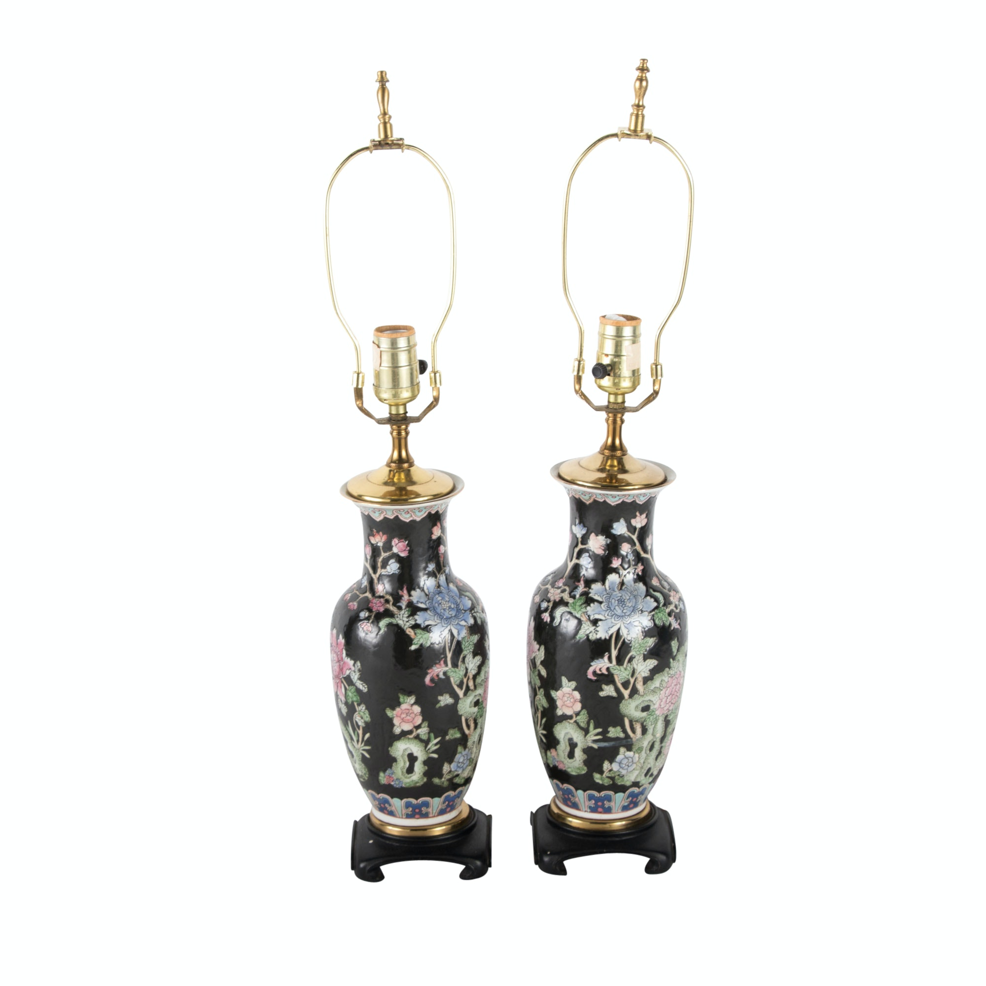 Pair Chinese Famille Noire Porcelain Urn Table Lamps, 20th Century