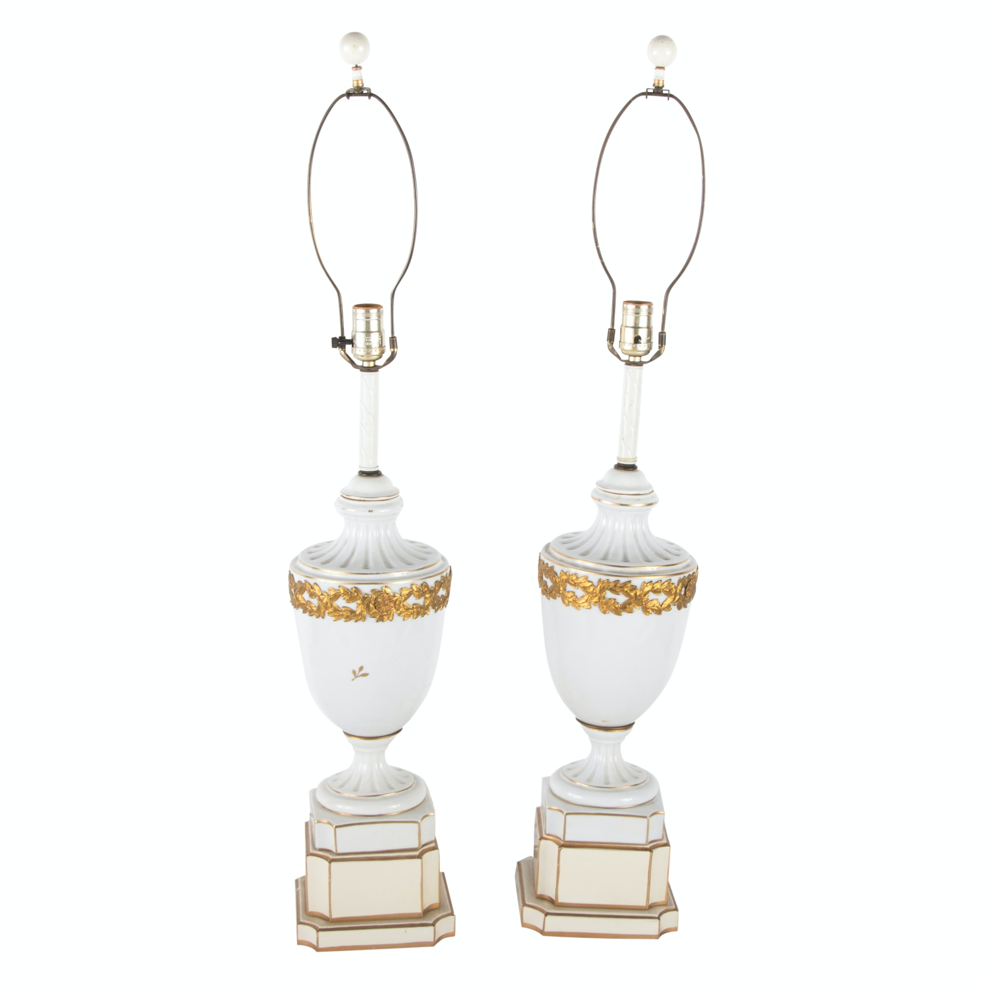 Pair of Italian White Porcelain and Gilt Decorated Table Lamps, 20th Century