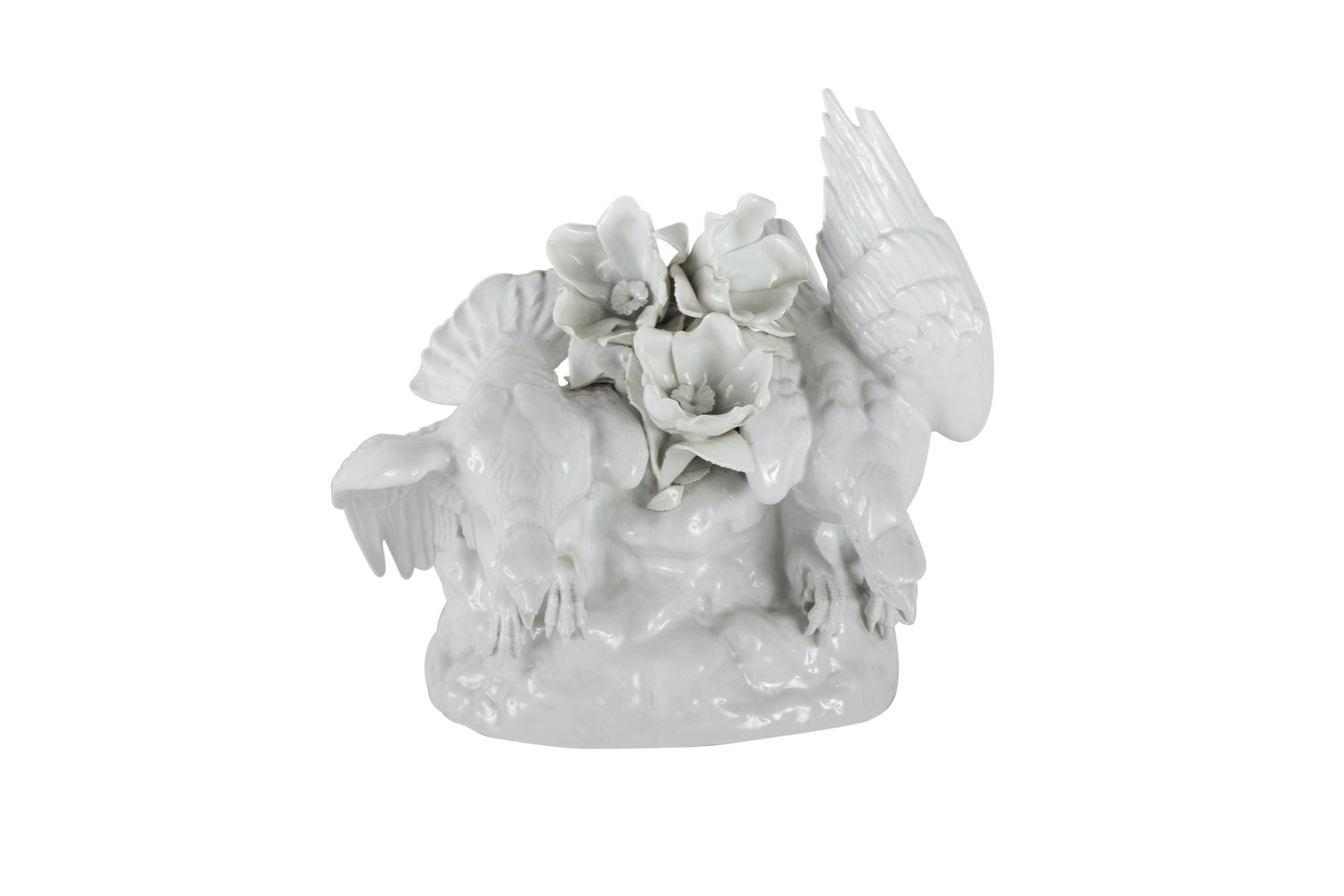 German White Porcelain Game Bird Centerpiece, 20th Century
