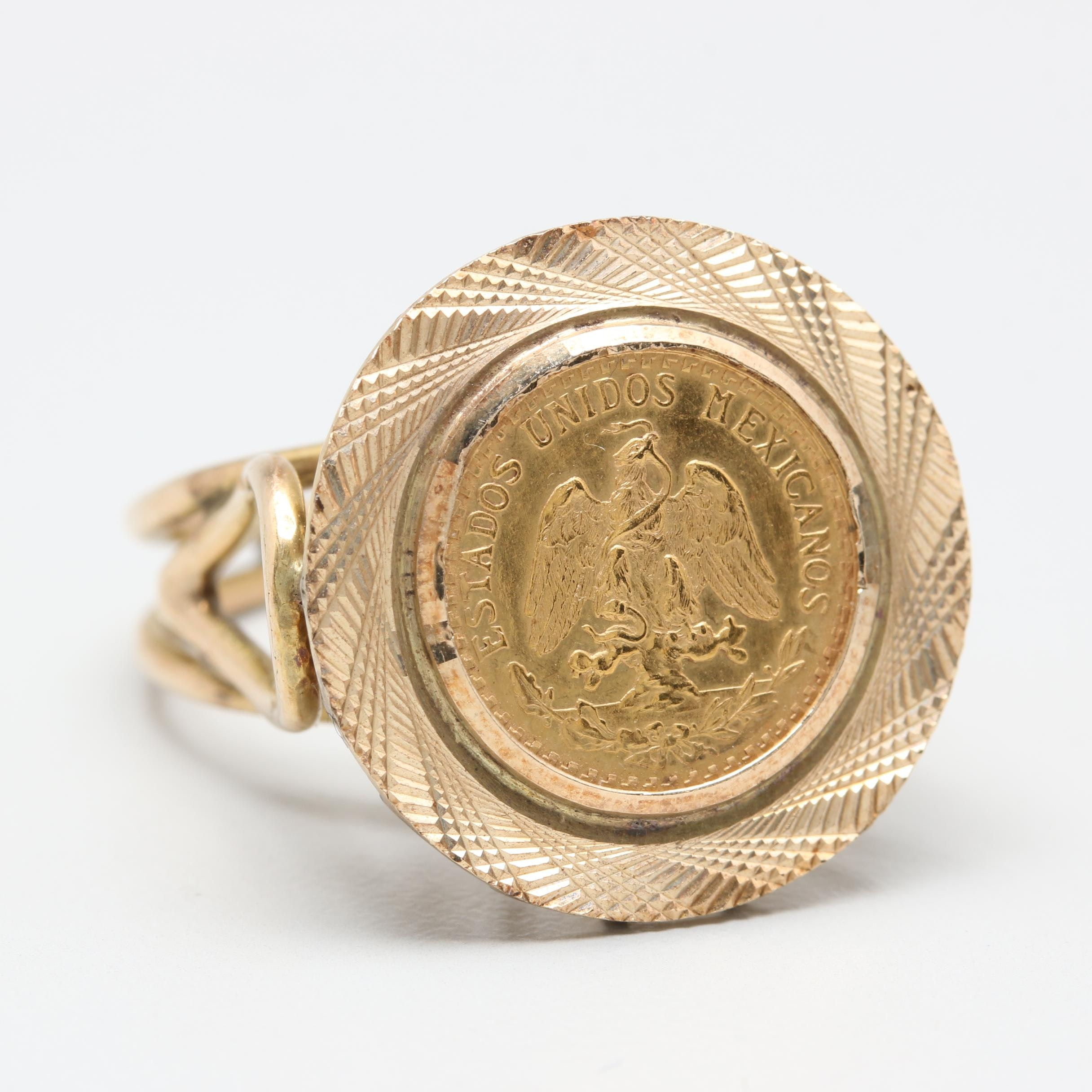 10K Yellow Gold Ring with 1945 (Restrike Year) Mexico 2 Pesos Gold Coin
