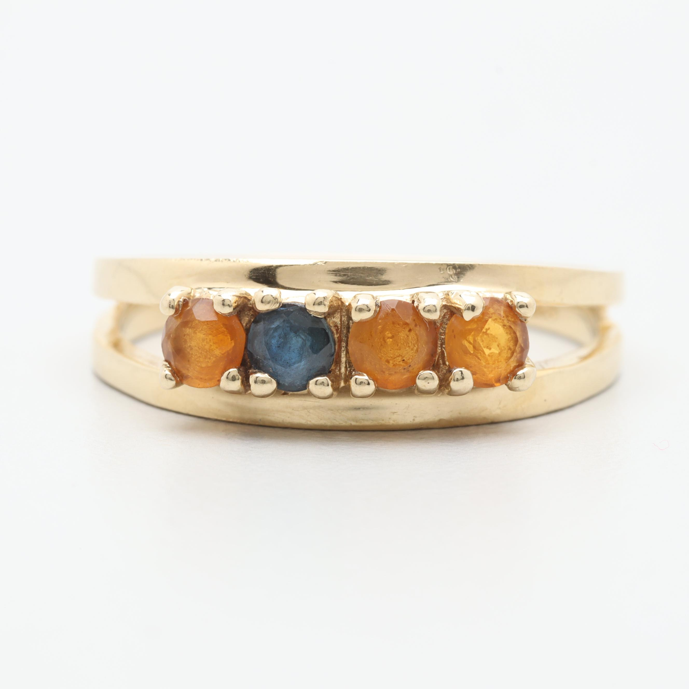 14K Yellow Gold Citrine and Blue Sapphire Ring