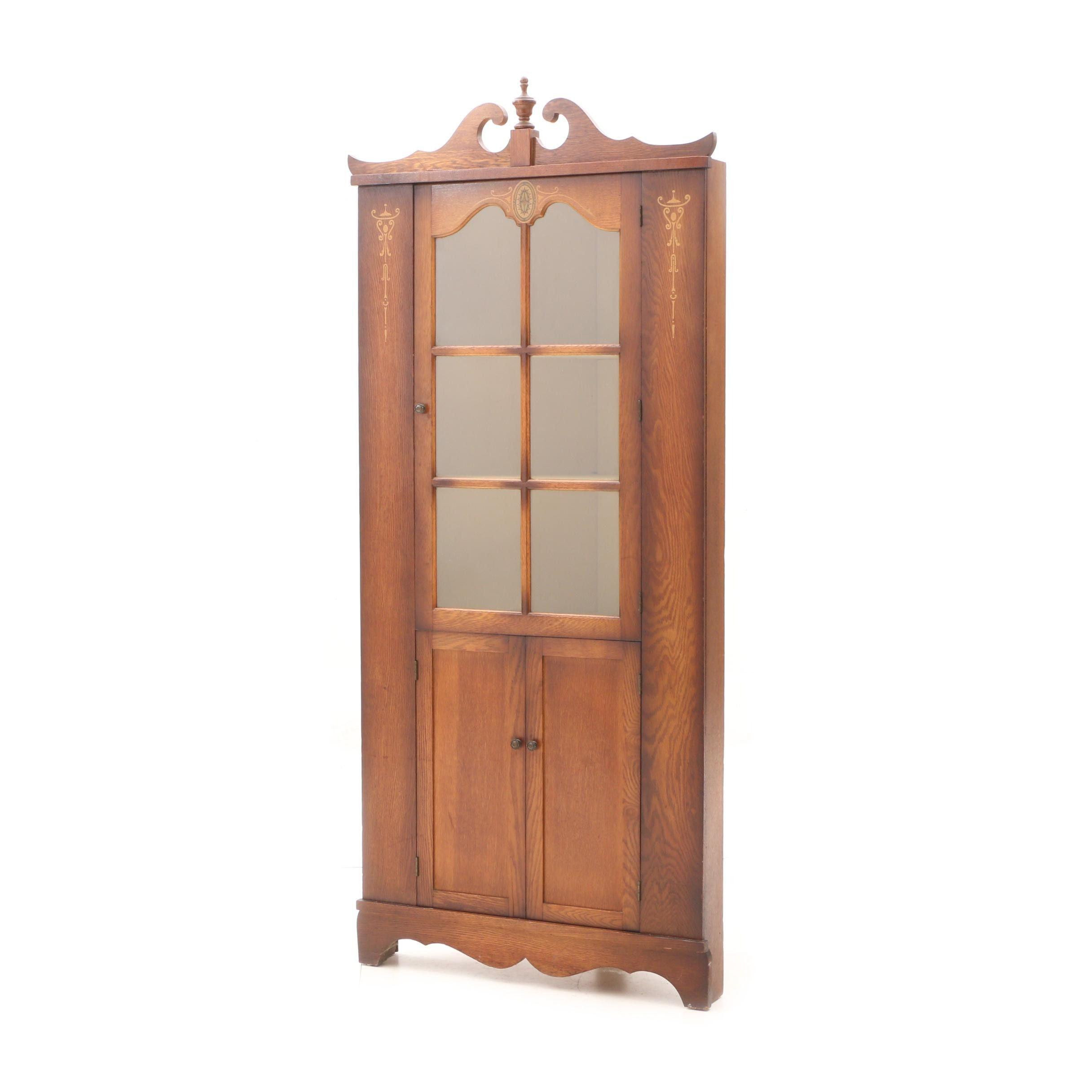 Vintage Stenciled Oak Corner Cabinet