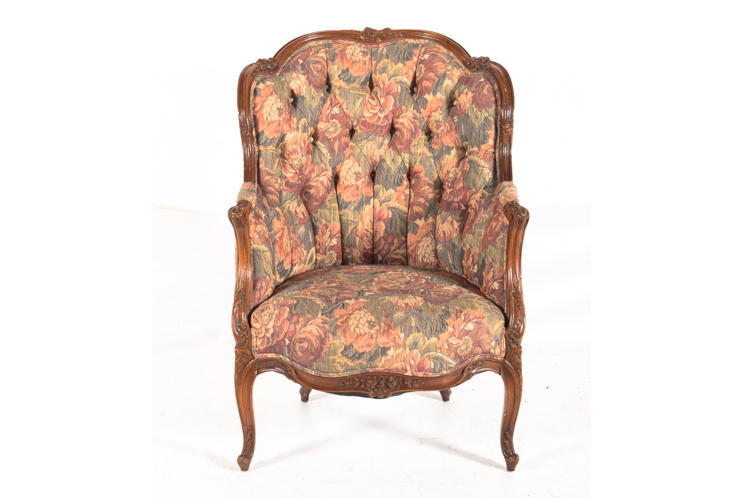 Vintage French Provincial Style Floral Upholstered Armchair