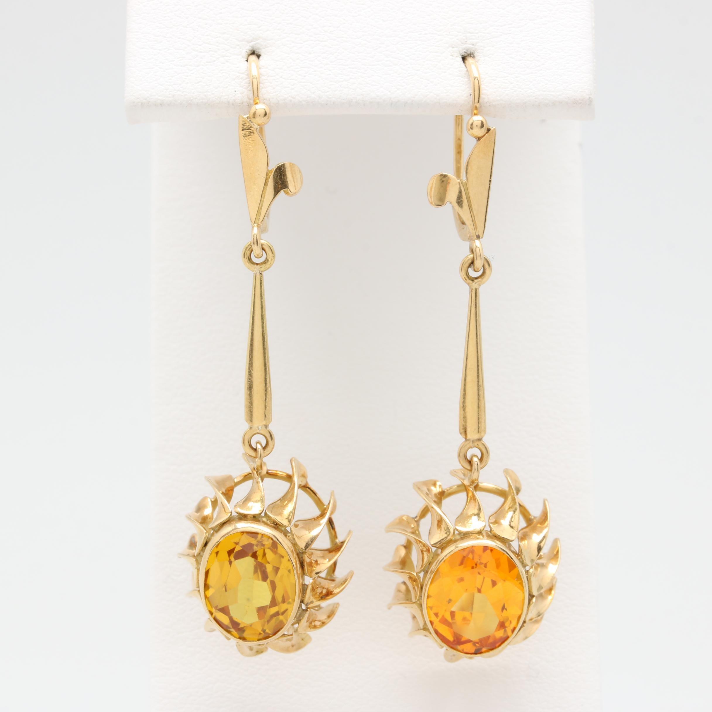 14K Yellow Gold Synthetic Yellow Sapphire Drop Earrings