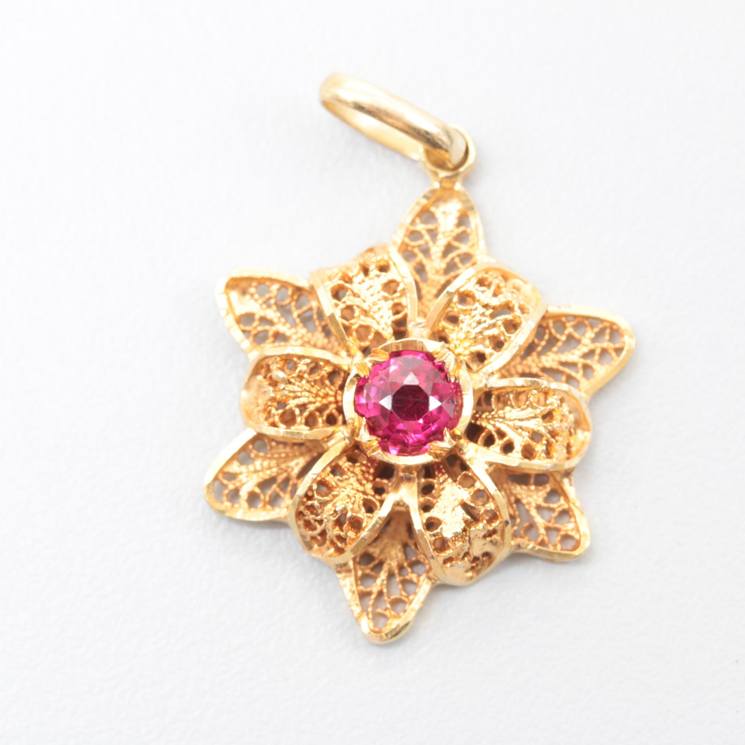 14K Yellow Gold Synthetic Ruby Pendant