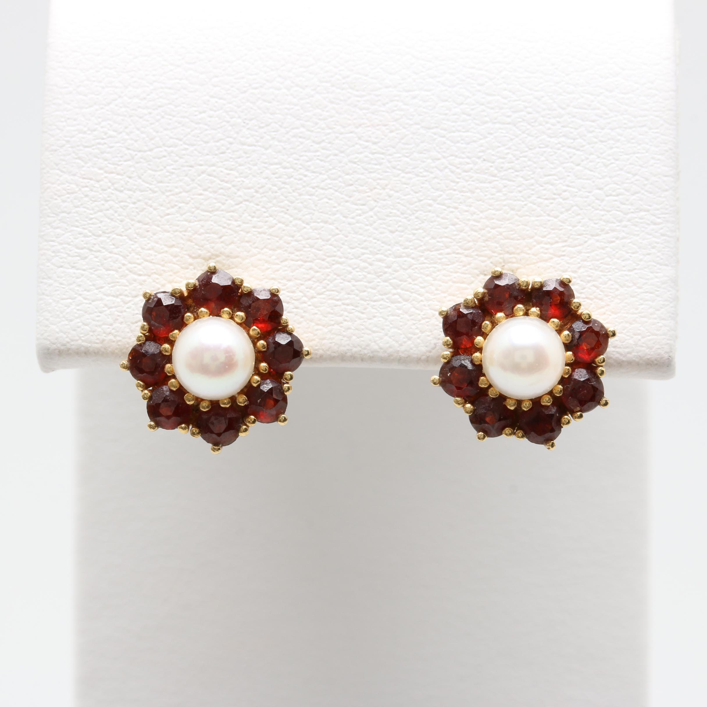 18K Yellow Gold Cultured Pearl and Garnet Earrings