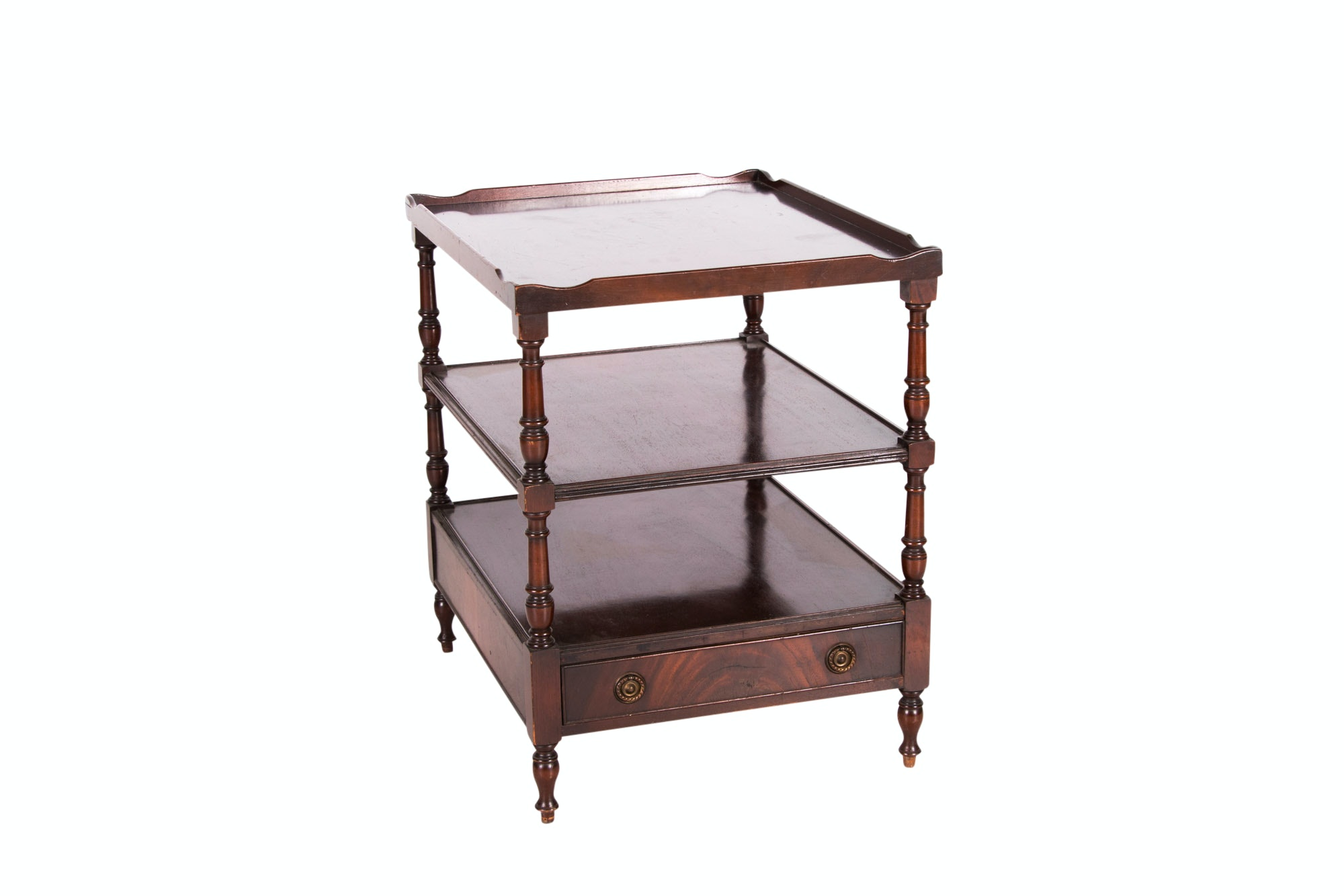 Regency Style Mahogany Three-Tier Side Table with Drawer, 20th Century