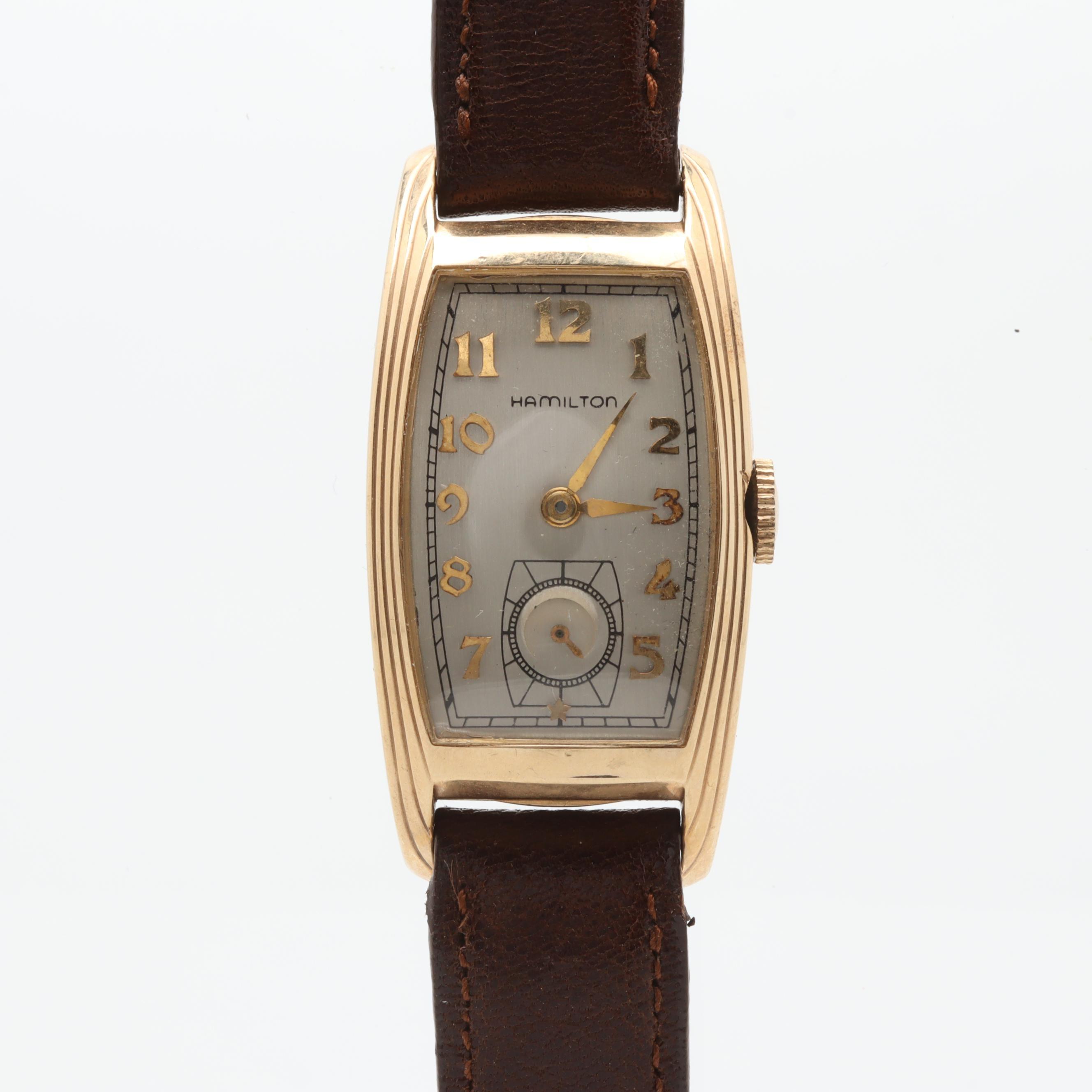 Circa 1938 Hamilton 14K Yellow Gold Filled and Leather Analog Wristwatch