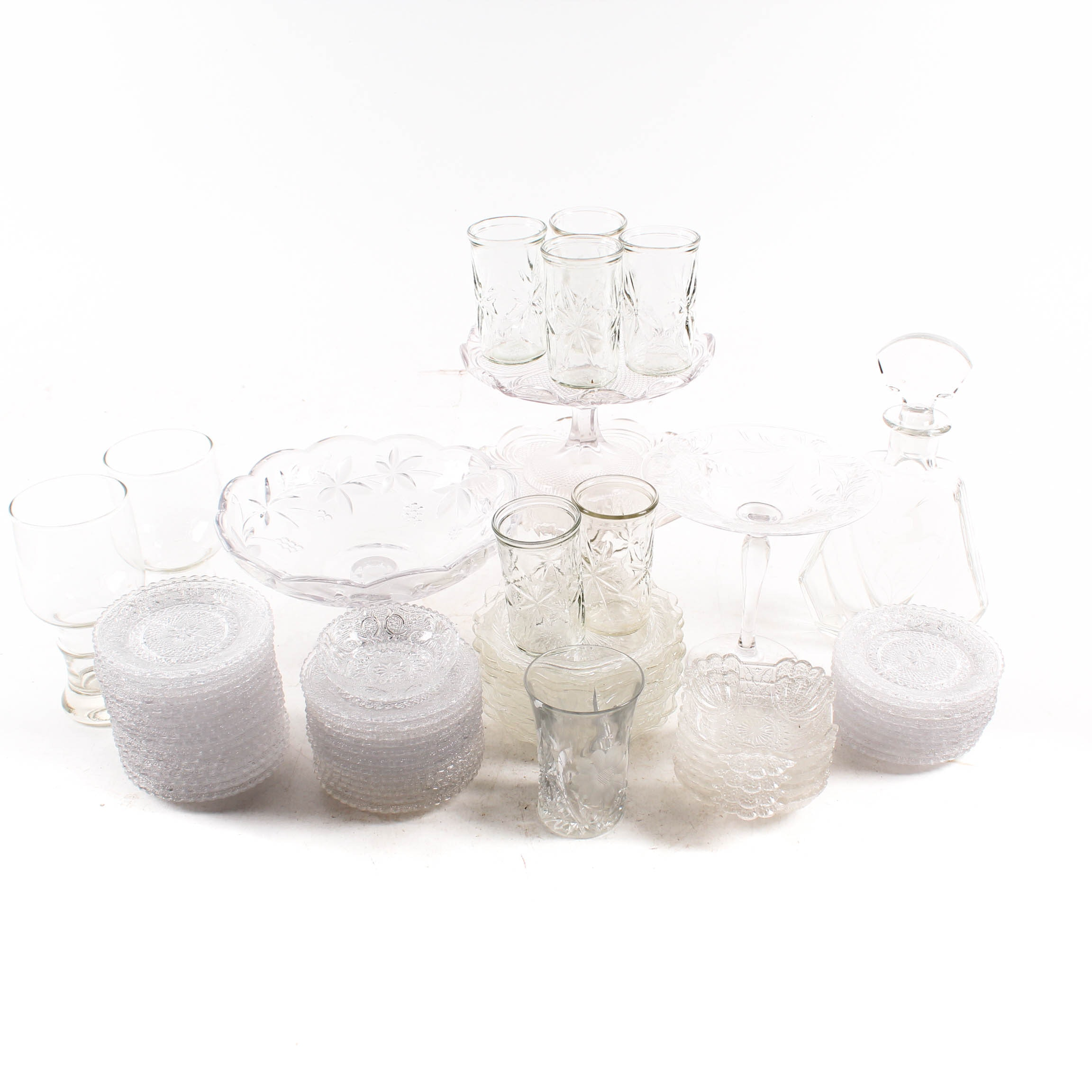 Vintage Clear Pressed Glass Tableware and Serving Pieces