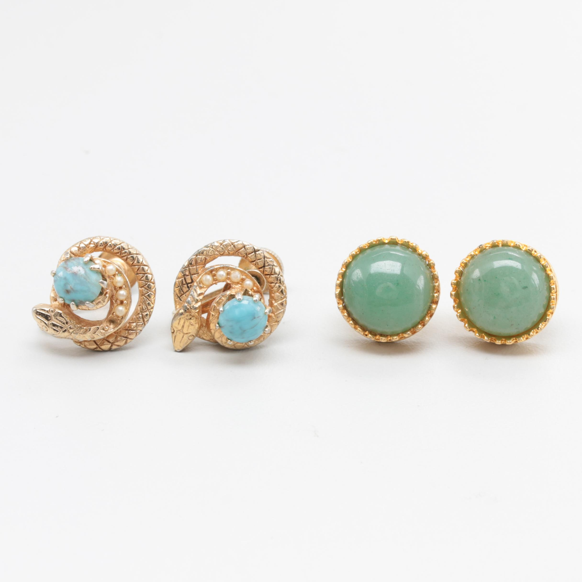 14K Yellow Gold and Gold Tone Earrings Featuring MoMA Aventurine Studs
