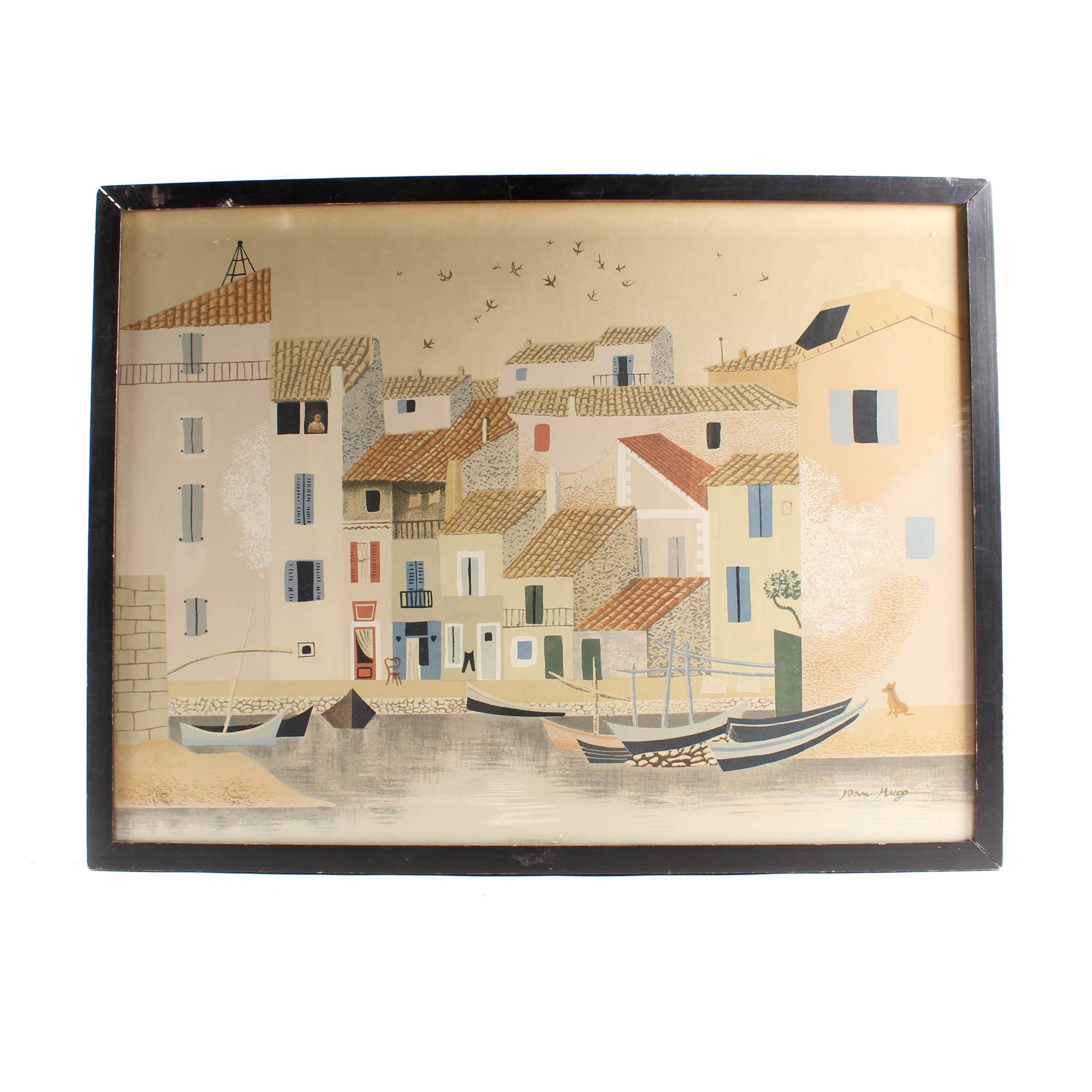 "Lithograph after Jean Hugo ""Port City"""
