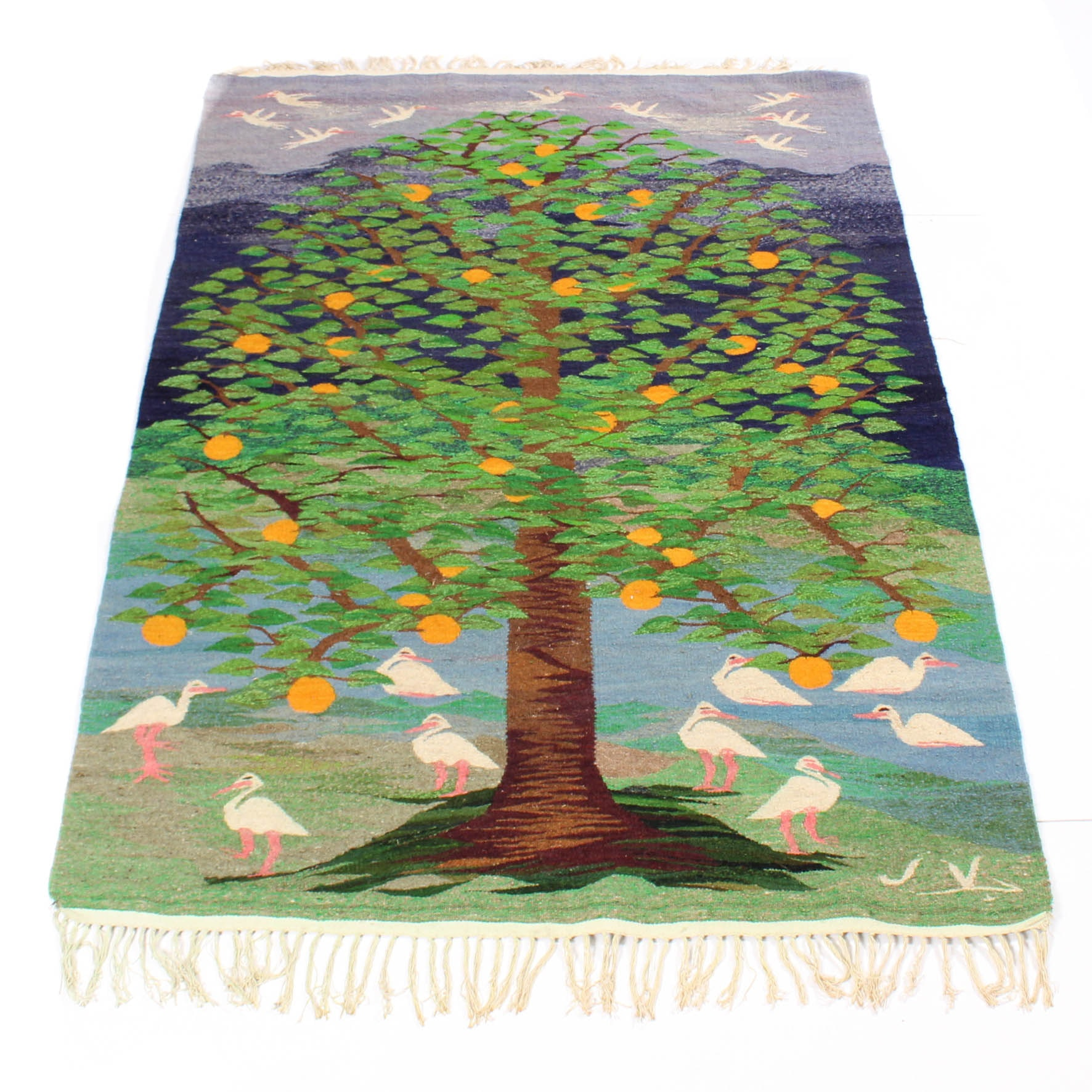 """Vintage Hand-Woven South American """"Tree of Life"""" Rug"""