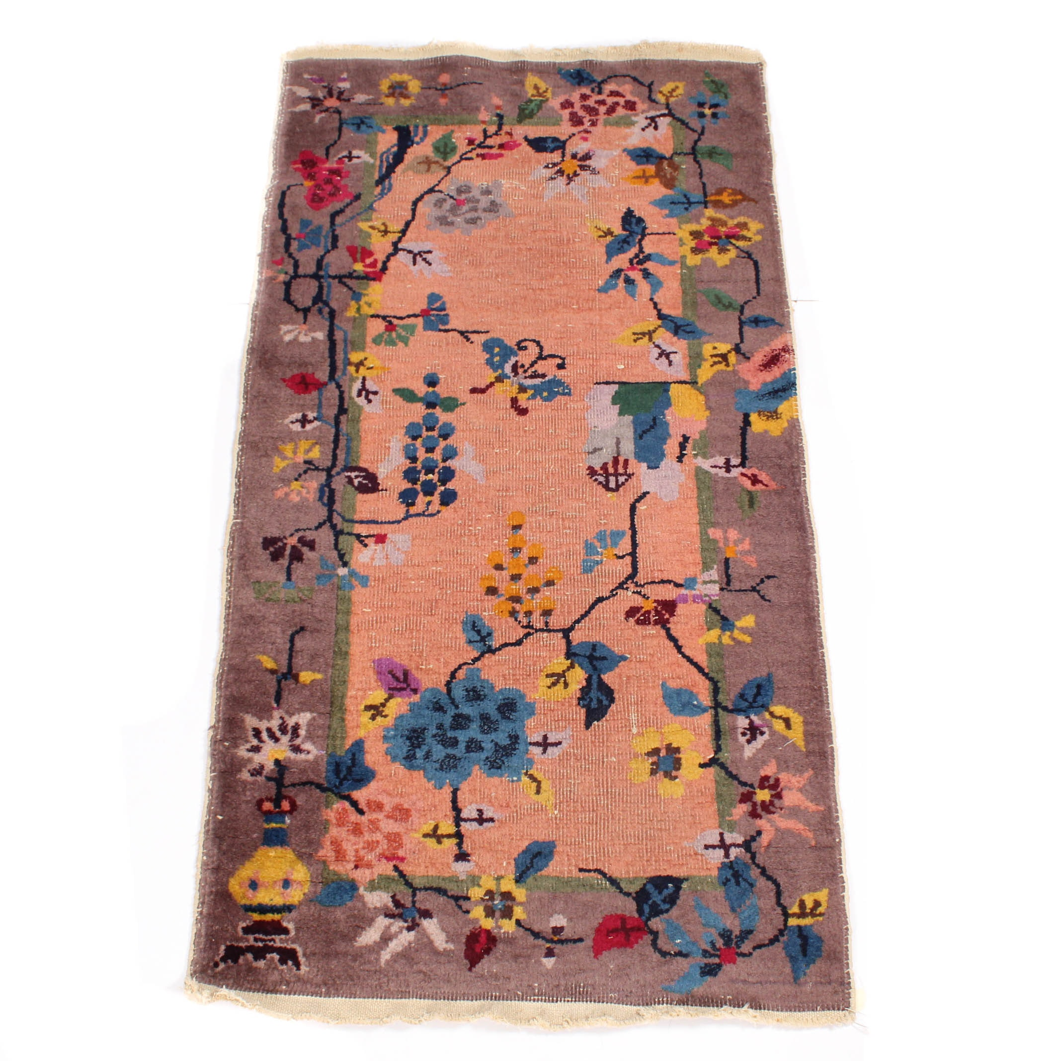 Vintage Hand-Knotted Chinese Accent Rug