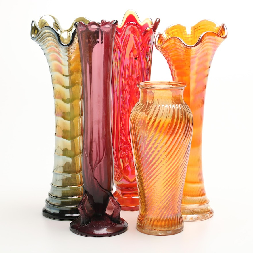 Vintage Carnival Glass And Pressed Glass Vases Ebth