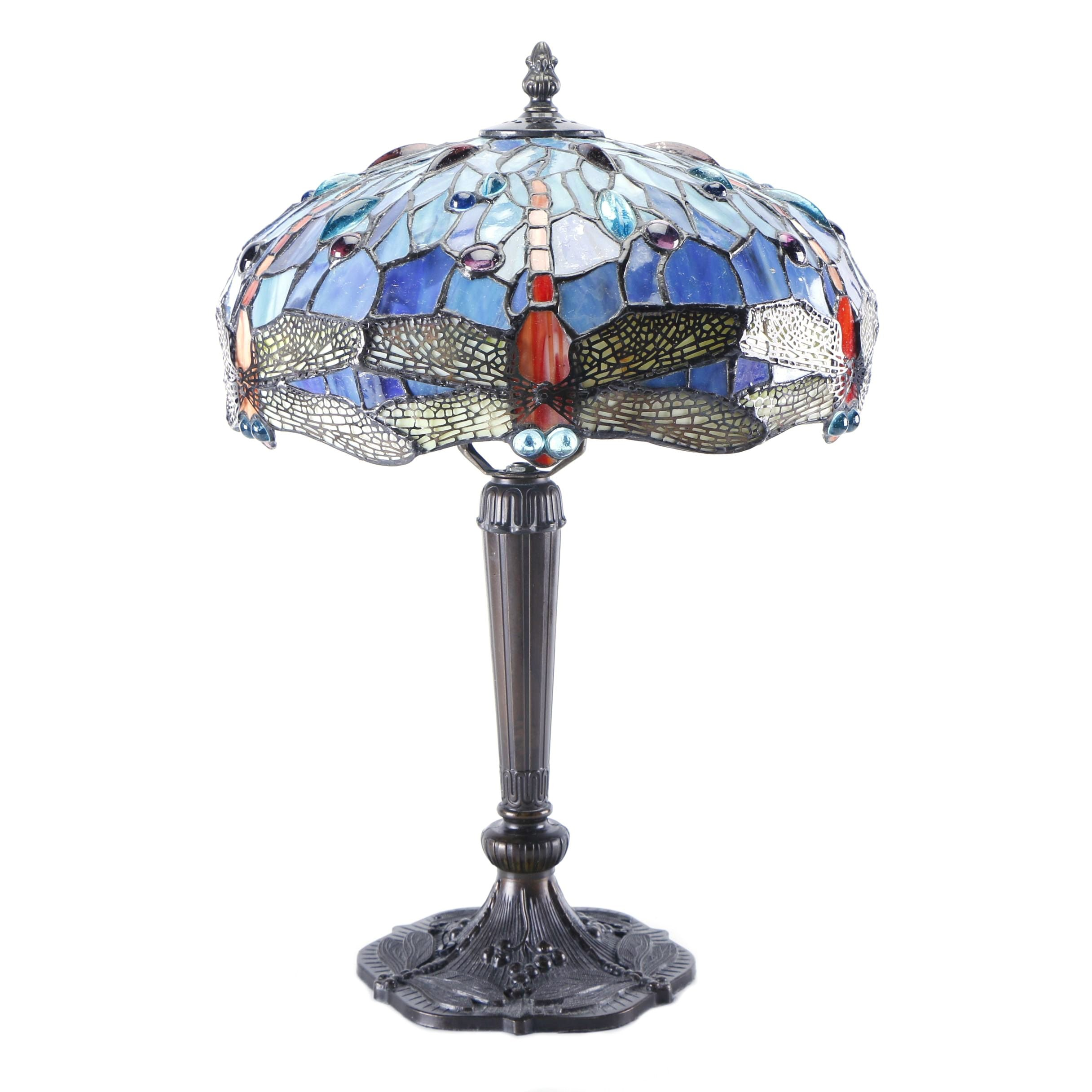 Tiffany Style Dragonfly Table Lamp Base and Shade