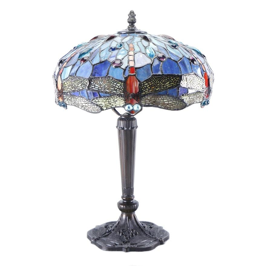 Tiffany Style Dragonfly Table Lamp Base And Shade