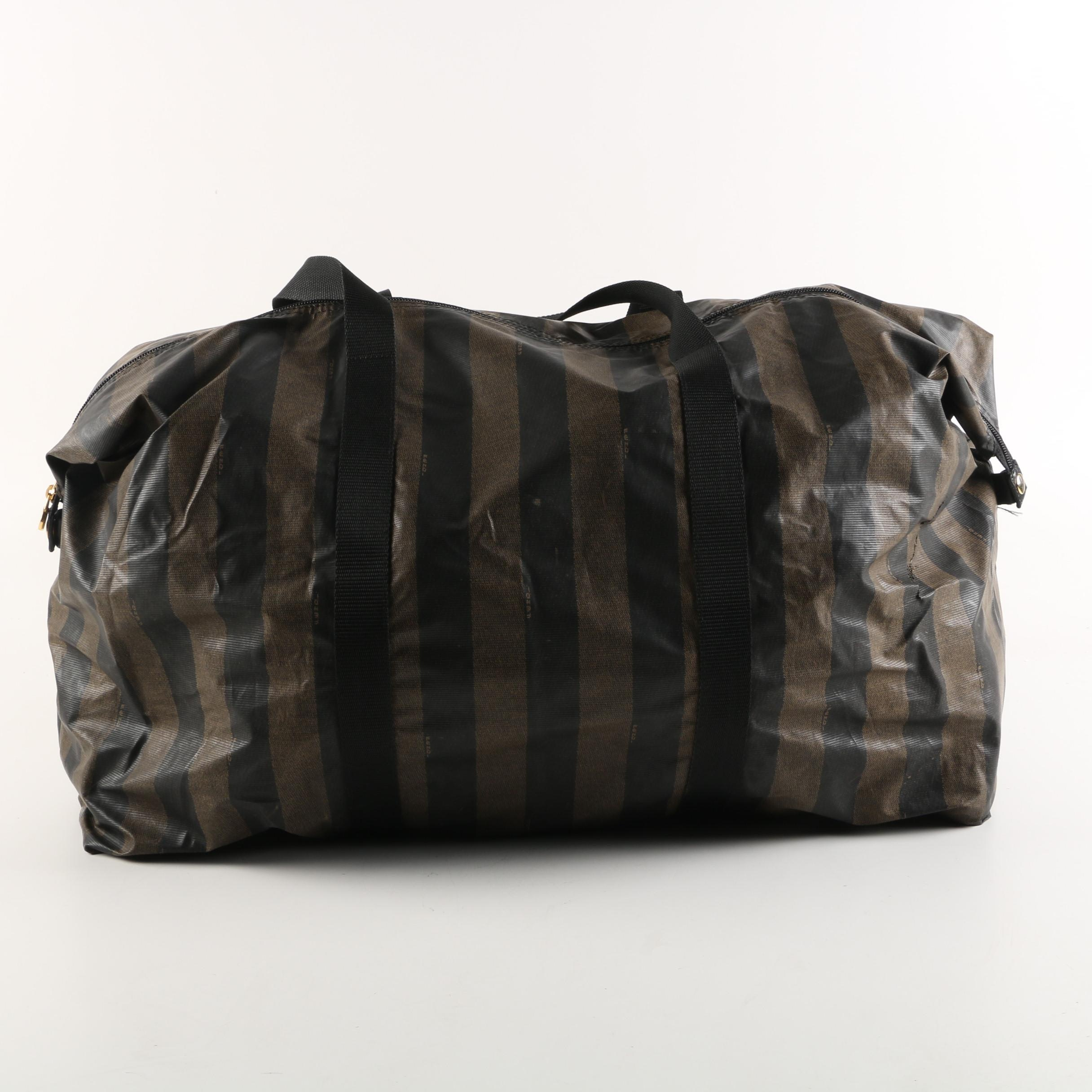Fendi Pequin Stripe Nylon Duffel Bag