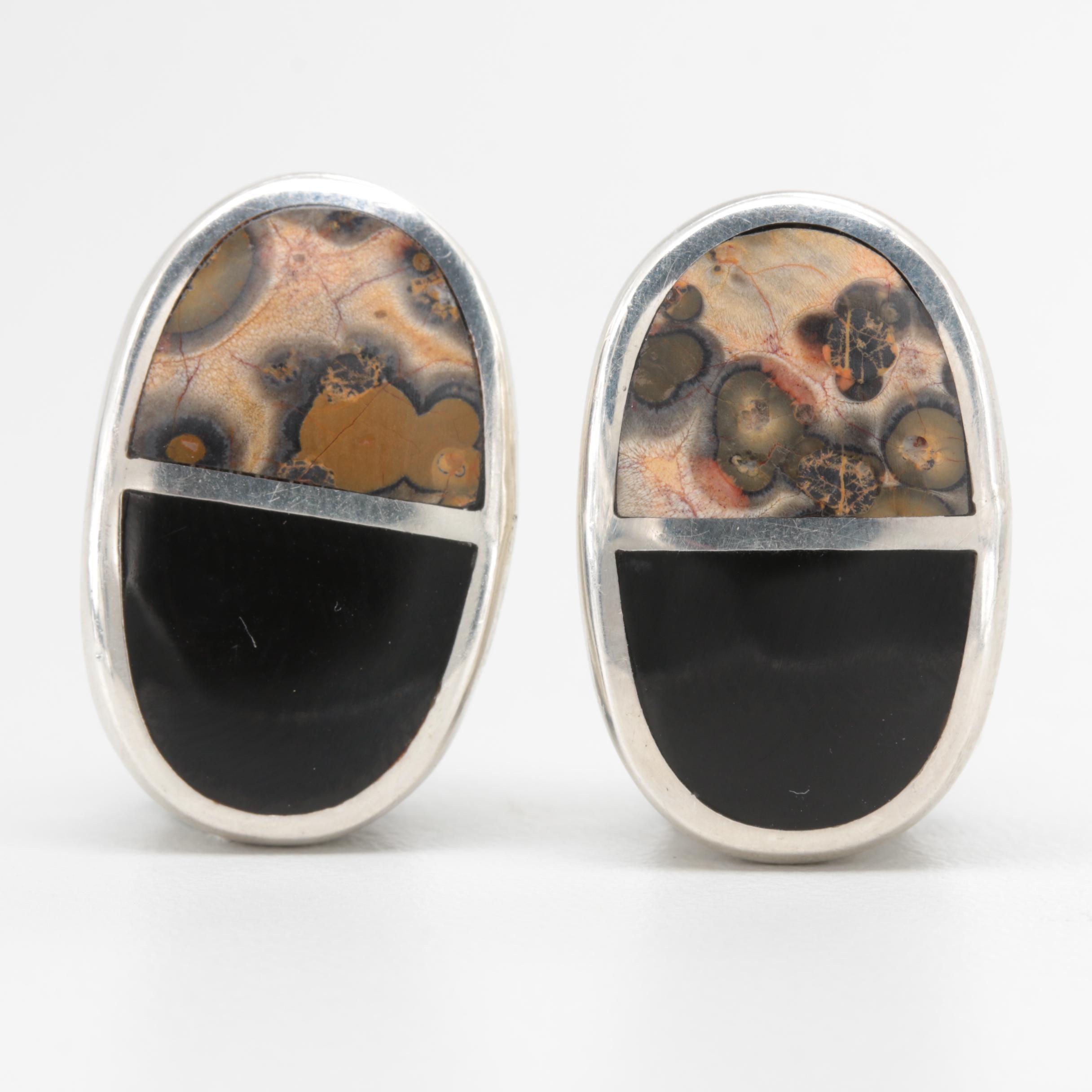 Sterling Silver Jasper and Resin Earrings