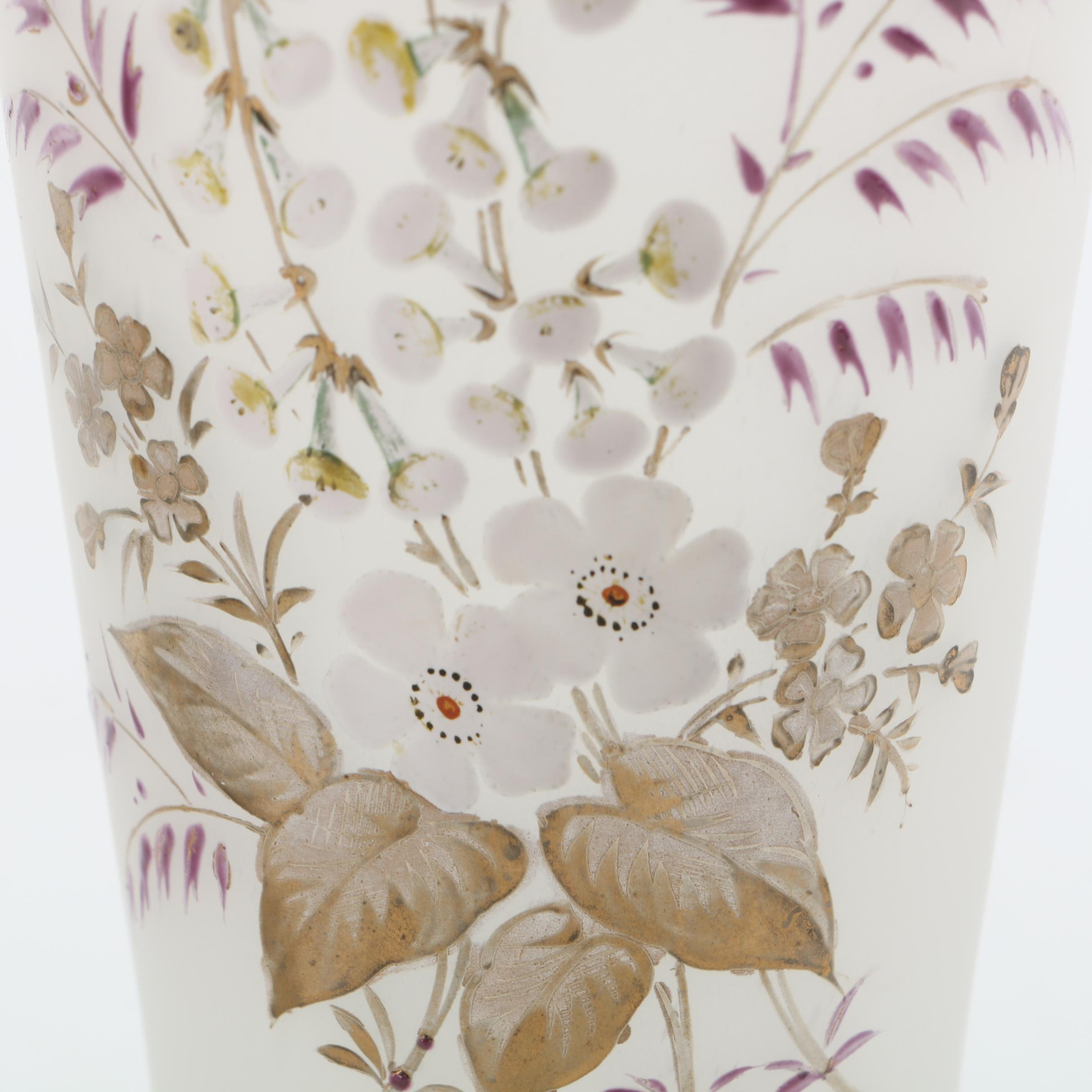 Antique Bristol Frosted Glass Hand Painted Vases