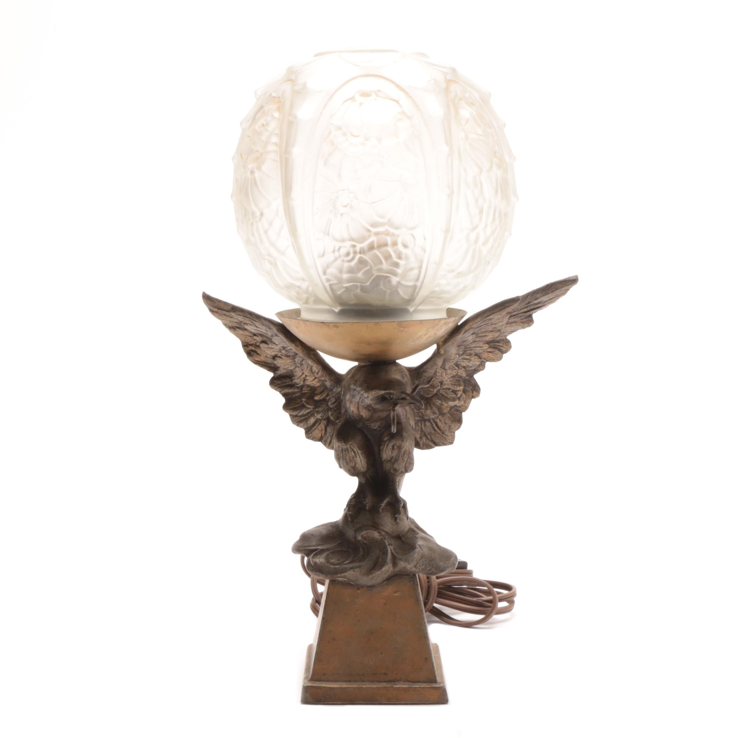 Vintage Cast Eagle and Pressed Glass Globe Table Lamp