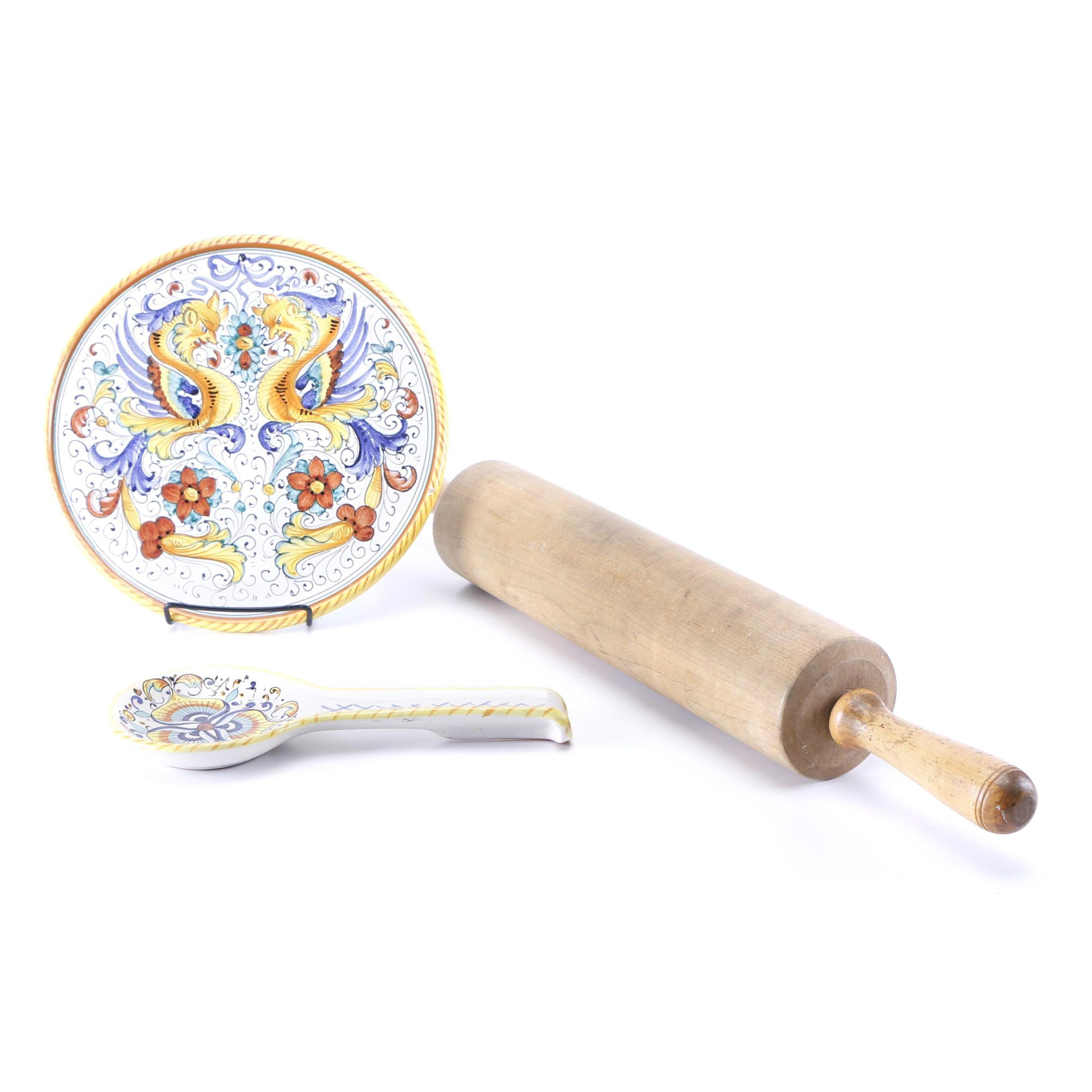 "Deruta Italy ""Raffaellesco"" Faïence Platter with Spoon Rest and Rolling Pin"
