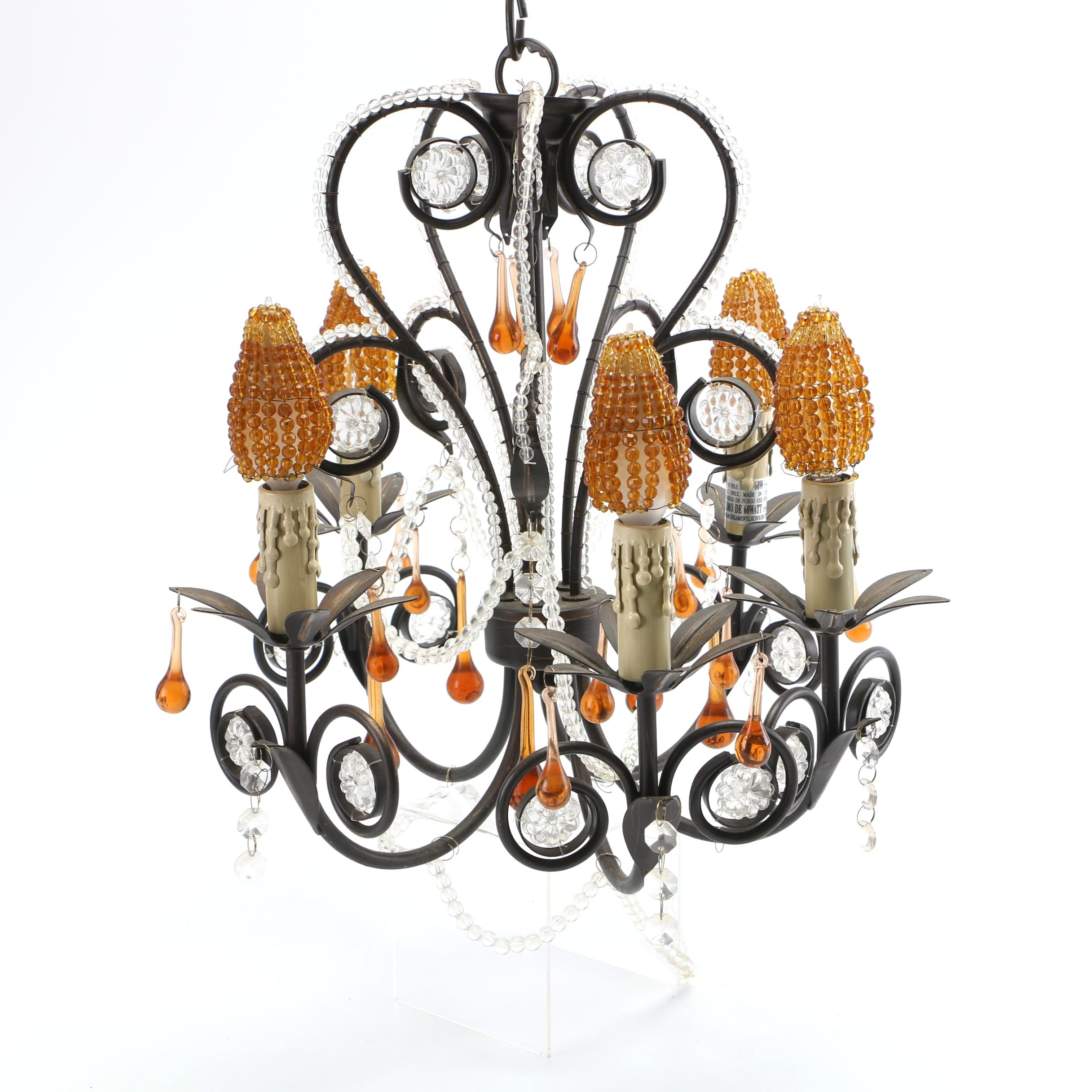 Vintage Scrolled Black Metal Five-Arm Chandelier with Clear and Amber Beading