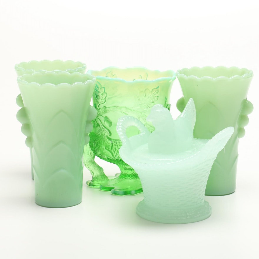 Green Milk Glass Vases With A Spooner And Hen On Nest Ebth