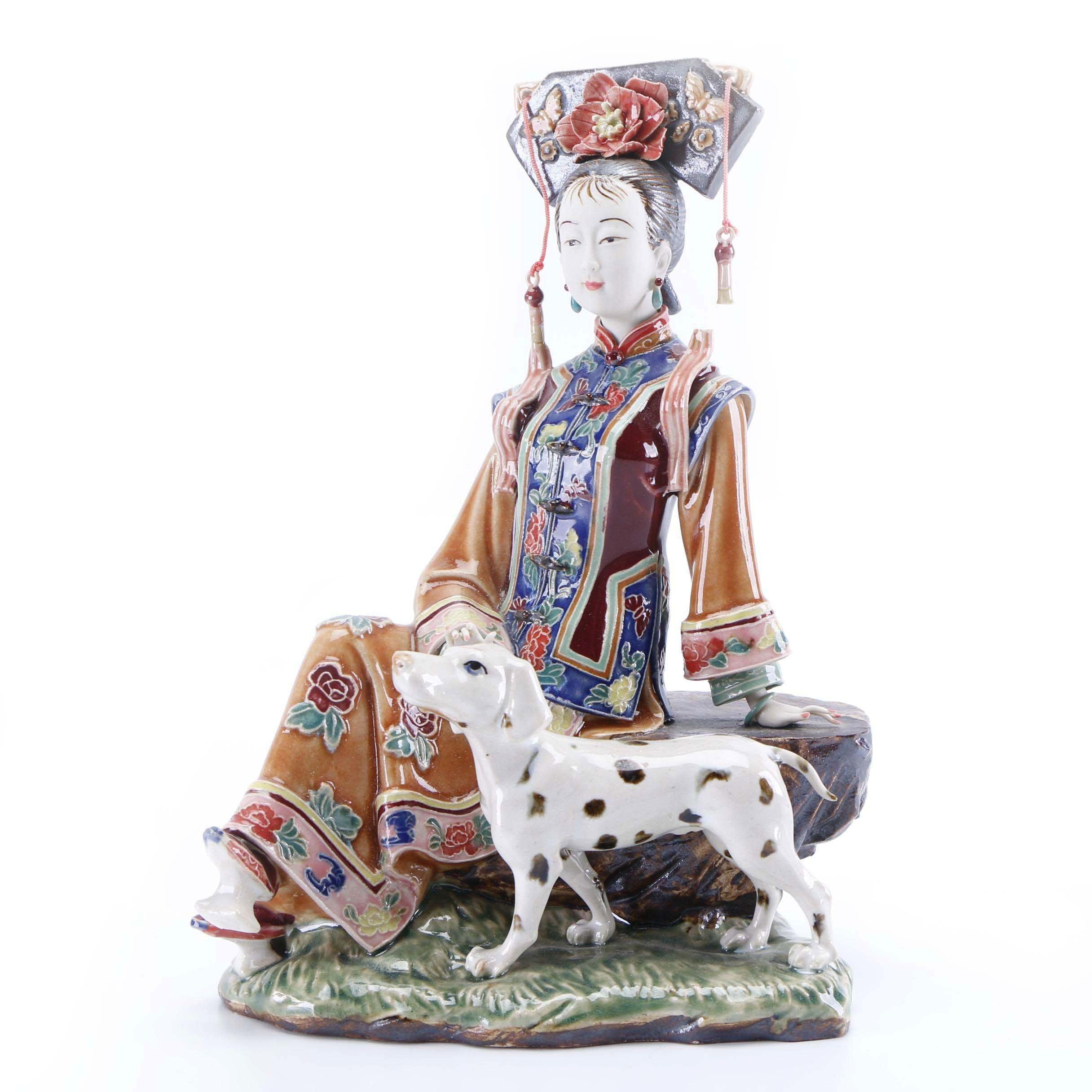 Chinese Lin Weidong Shiwan Ware Porcelain Figure