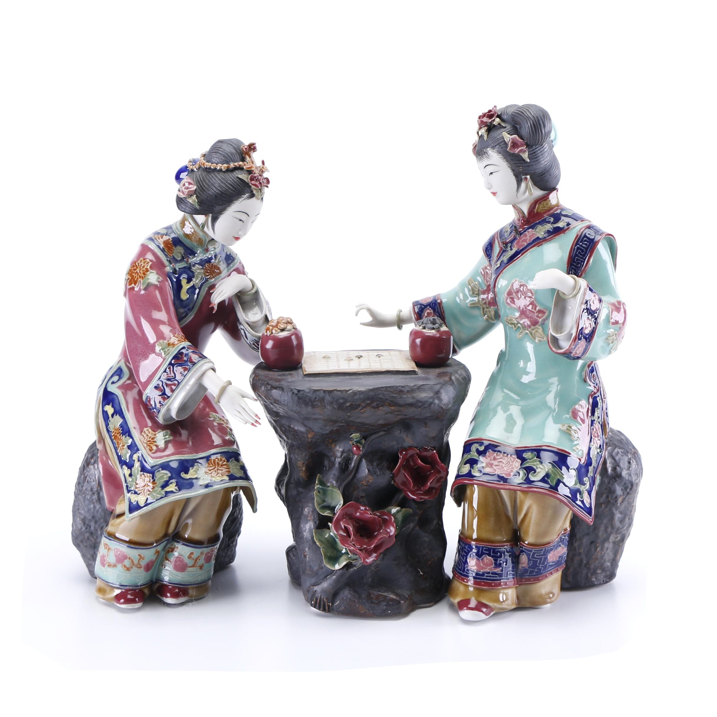 """Chinese Shiwan Style Ceramic Figurines depicting Females Playing """"Go"""""""