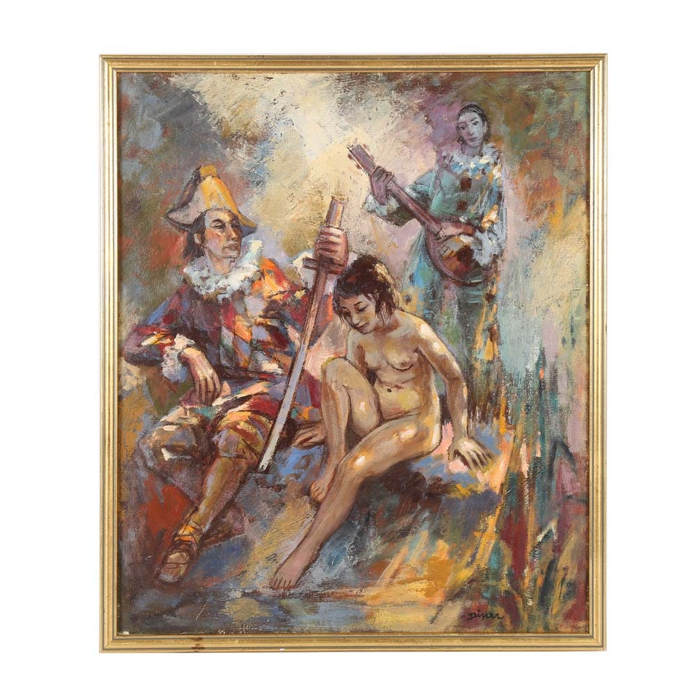 Pierre Diner Oil Painting on Canvas of Harlequin Nude