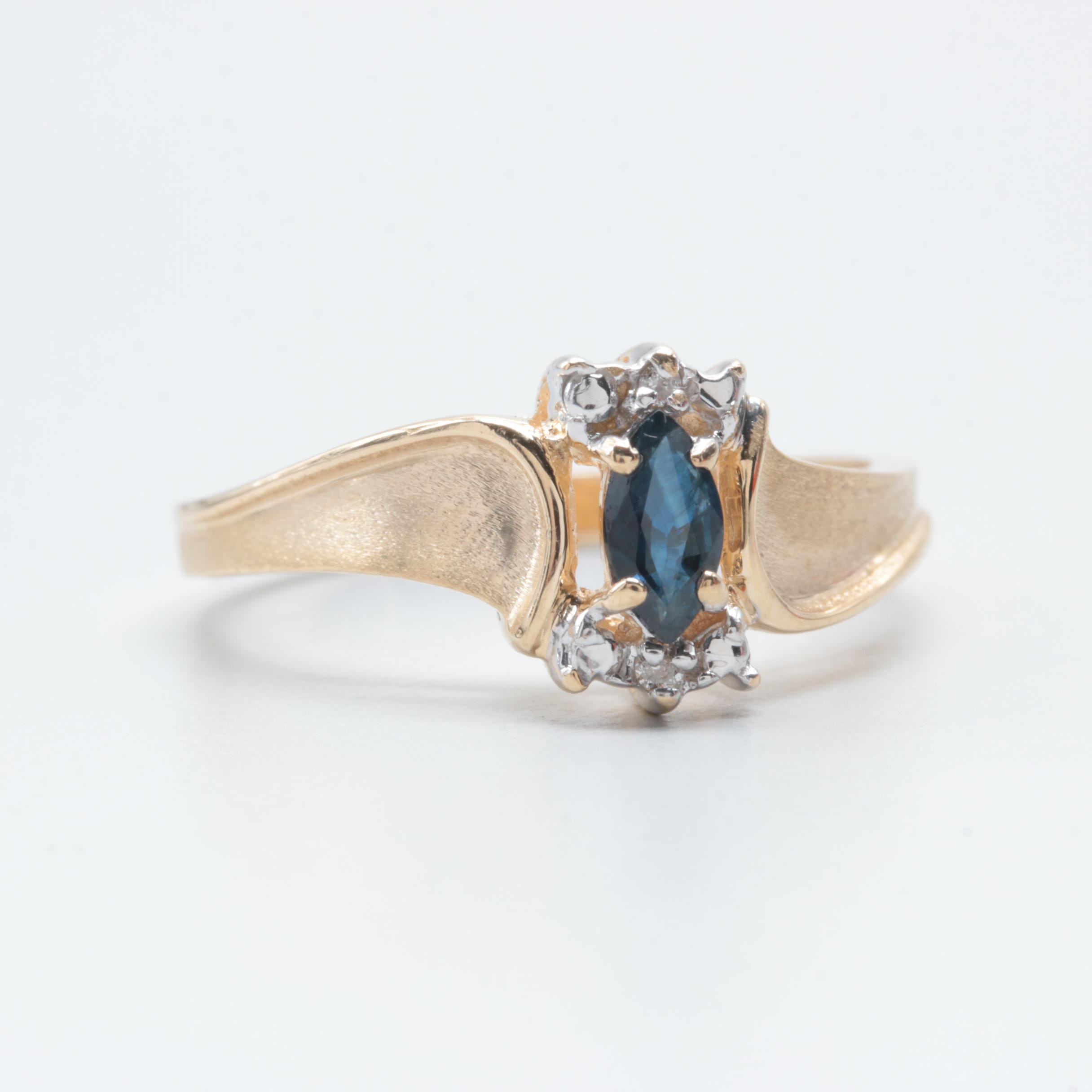 Baith 14K Yellow Gold Sapphire and Diamond Ring with White Gold Accent