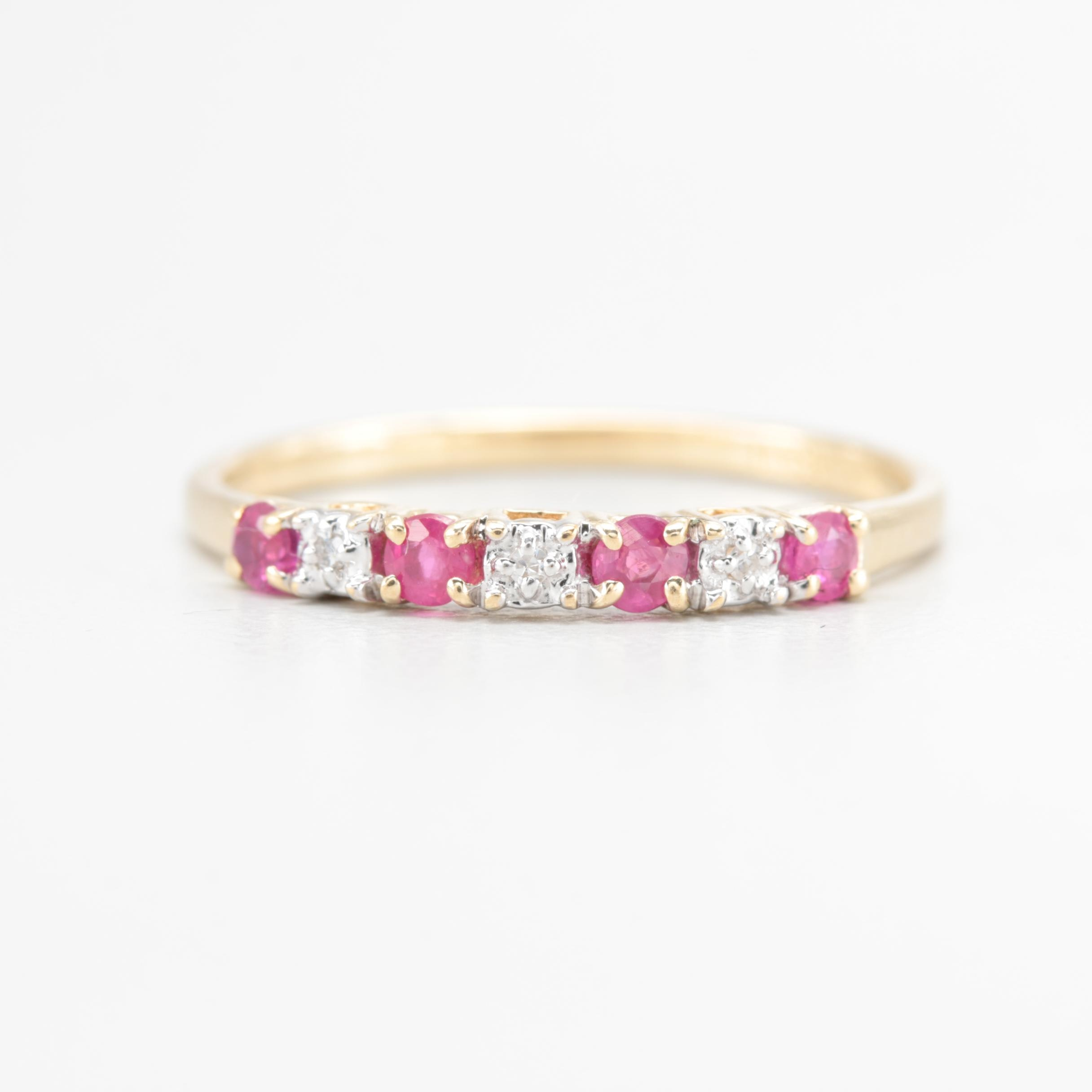 Plainville Stock Company 10K Yellow Gold Ruby and Diamond Ring