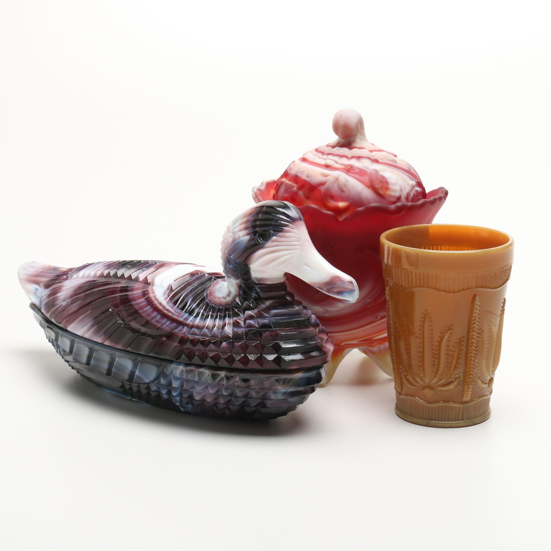 """""""Atterbury"""" Purple Slag Glass Duck Dish, Candy Jar and Cup"""