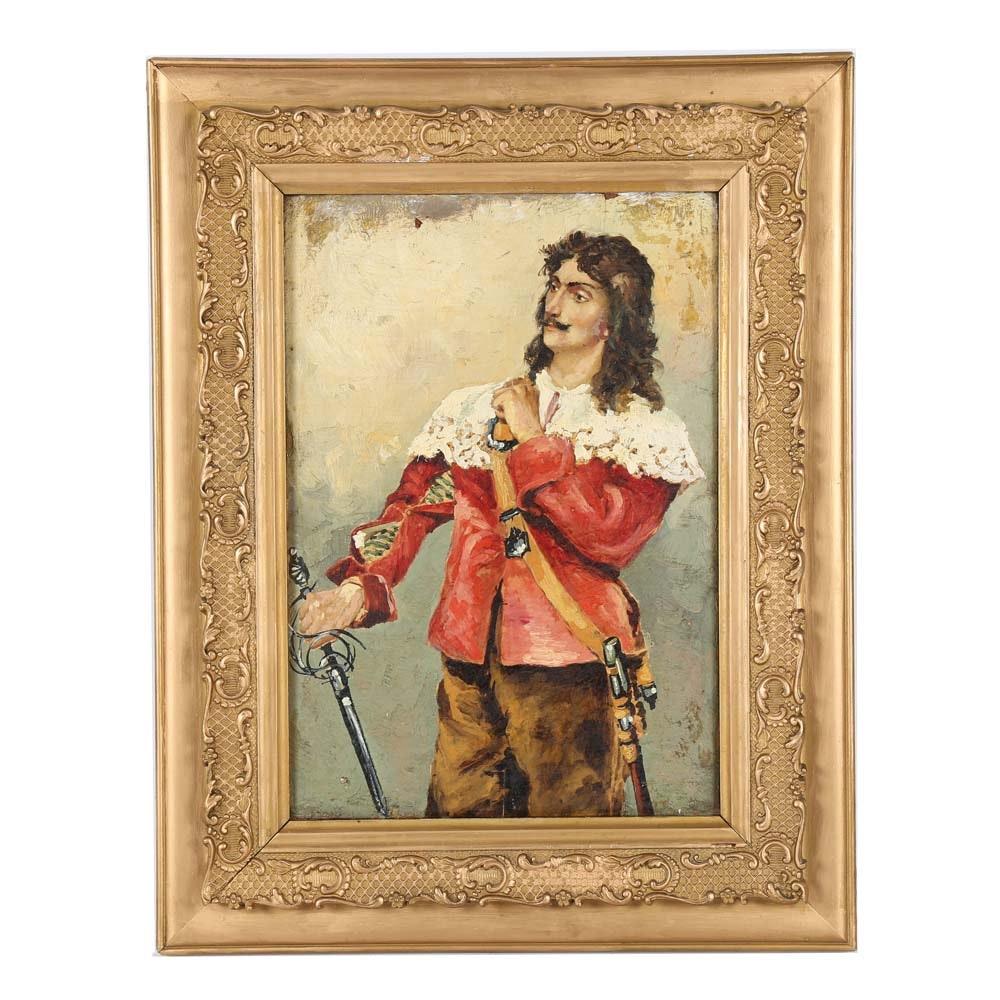 19th Century Oil Genre Painting of Swordsman