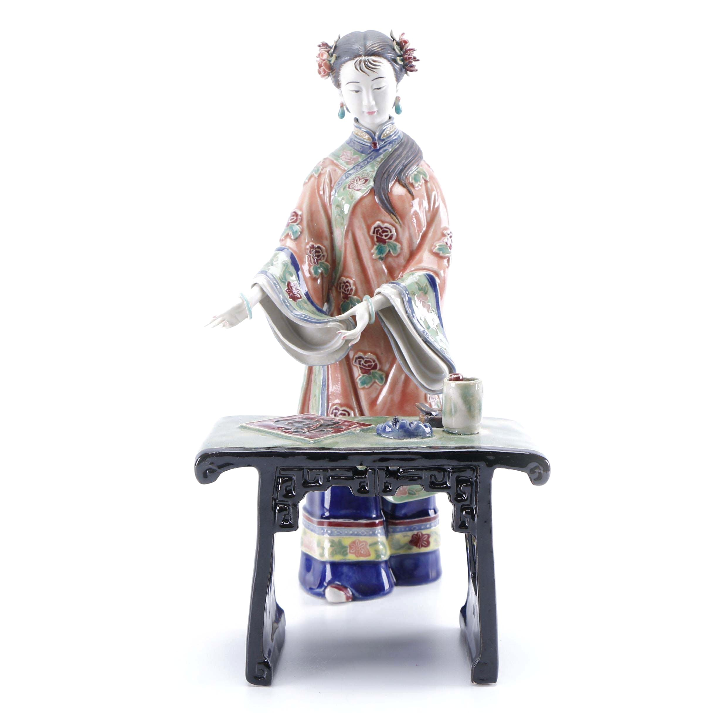 Chinese Style Porcelain Figurine of Woman and Calligraphy Set