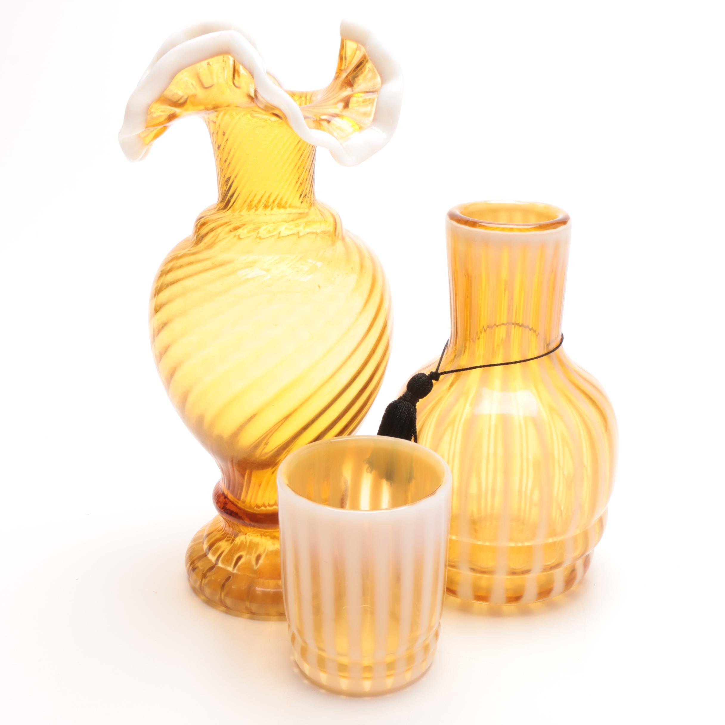 """Fenton """"Tumble Up"""" Bedside Carafe and Art Glass Swirl Vase"""