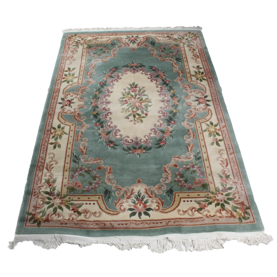 Hand Knotted Chinese Savonnerie Style Wool Area Rug
