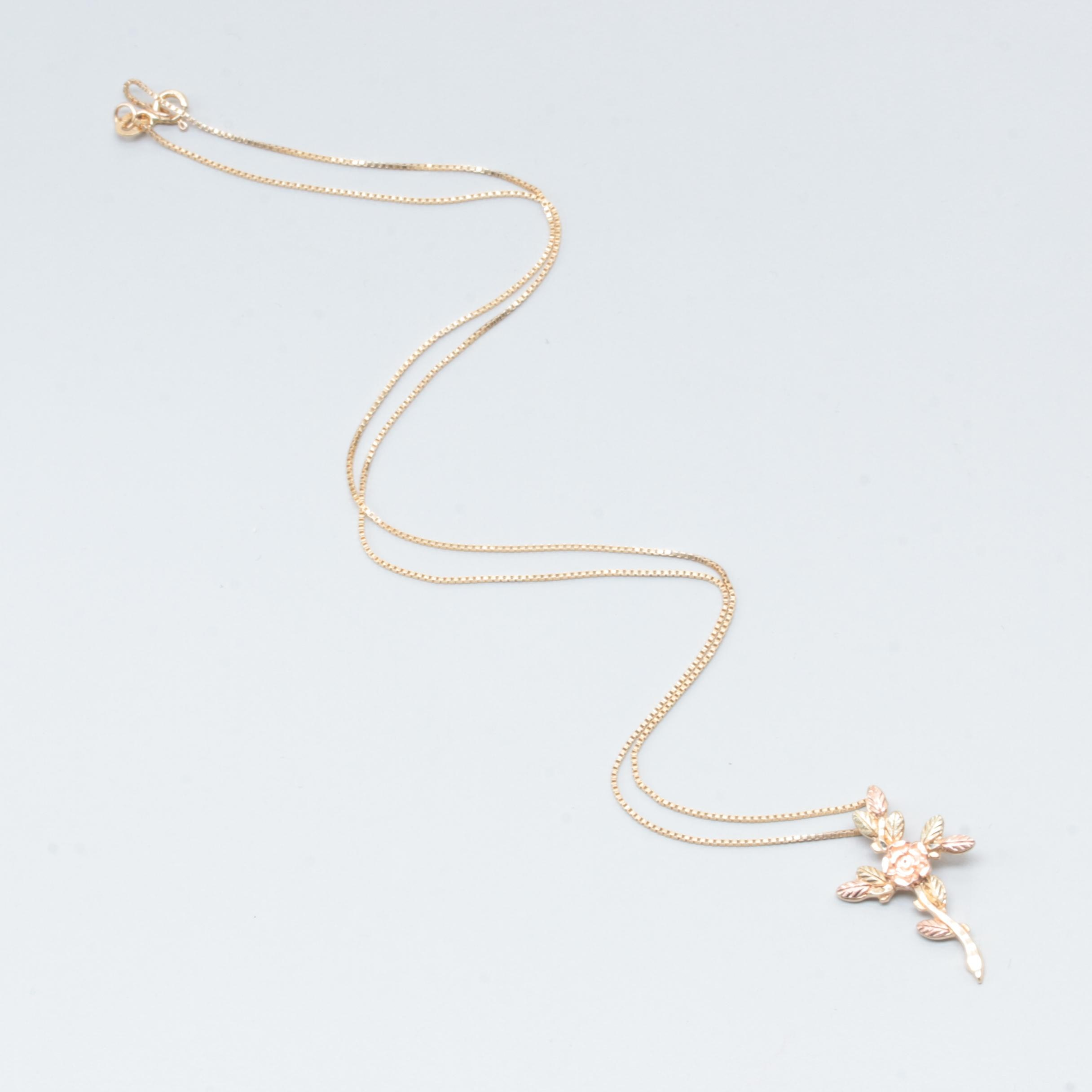 10K and 14K Tri-Color Gold Rose Cross Pendant Necklace