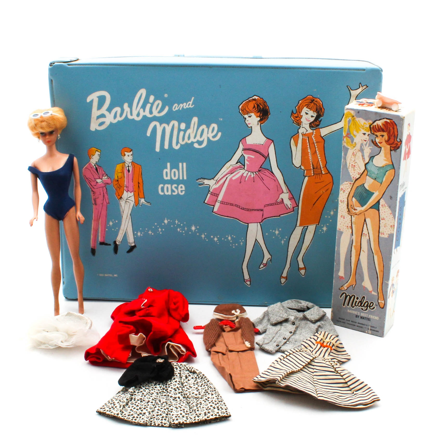 "1960s ""Bubble Cut"" Barbie and ""Midge"" Dolls with Carrying Case and Accessories"