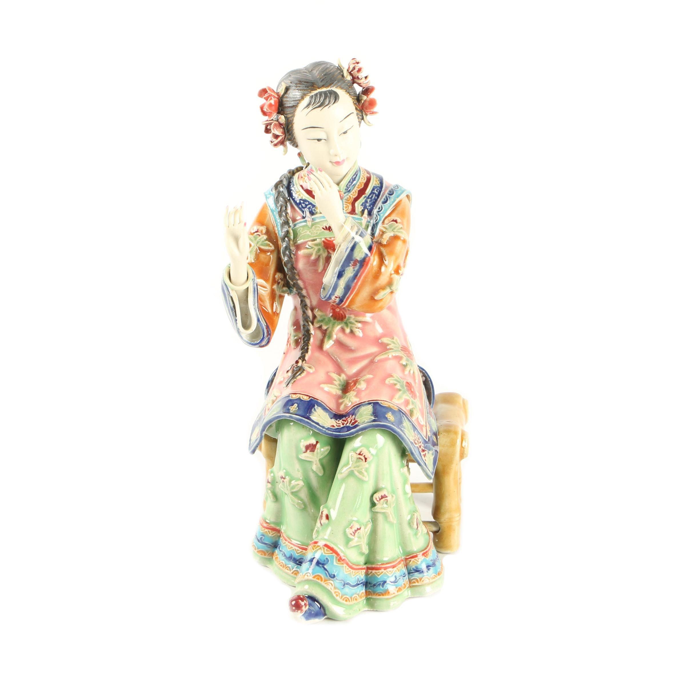 Chinese Shiwan Style Ceramic Female Figurine