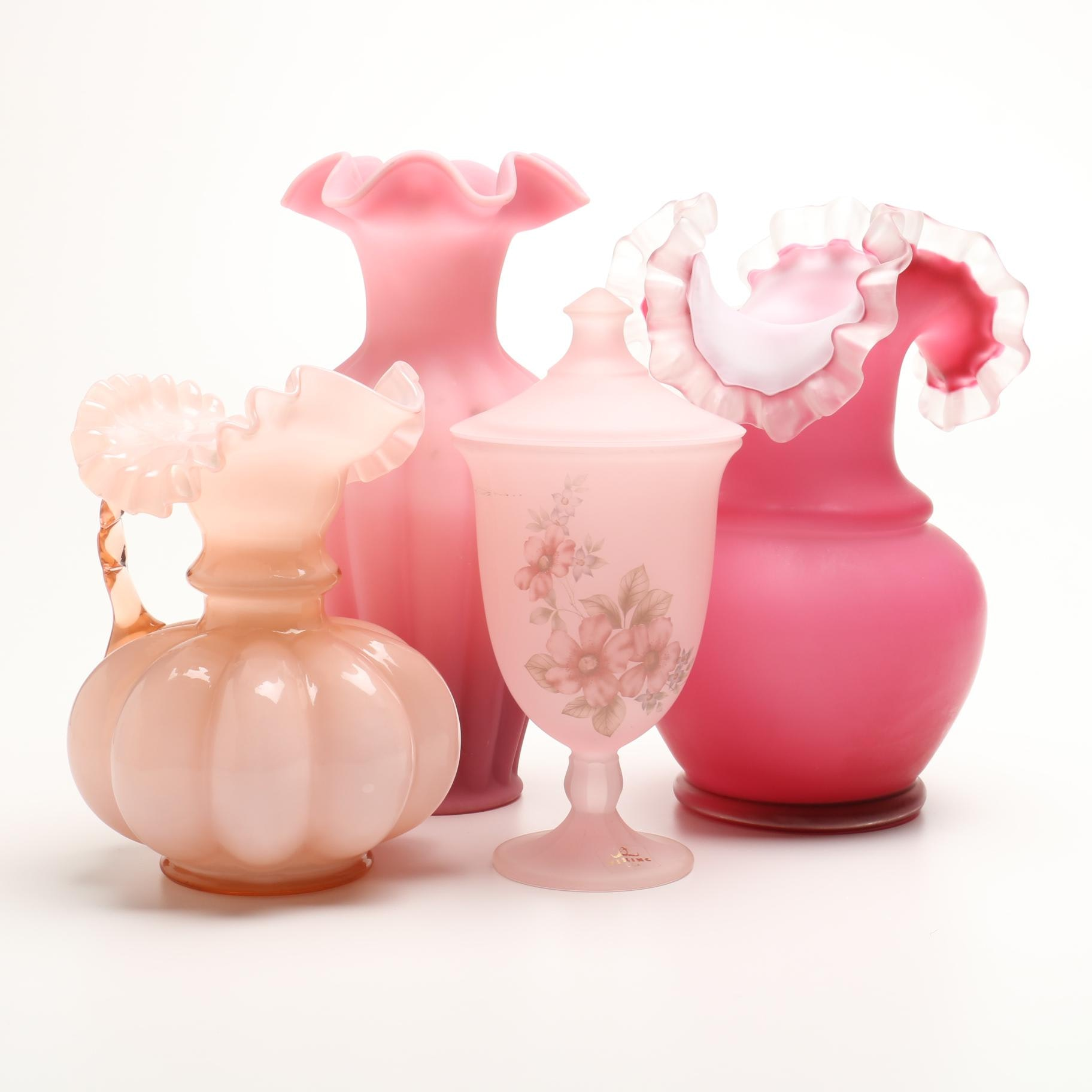 Group of Pink Art Glass
