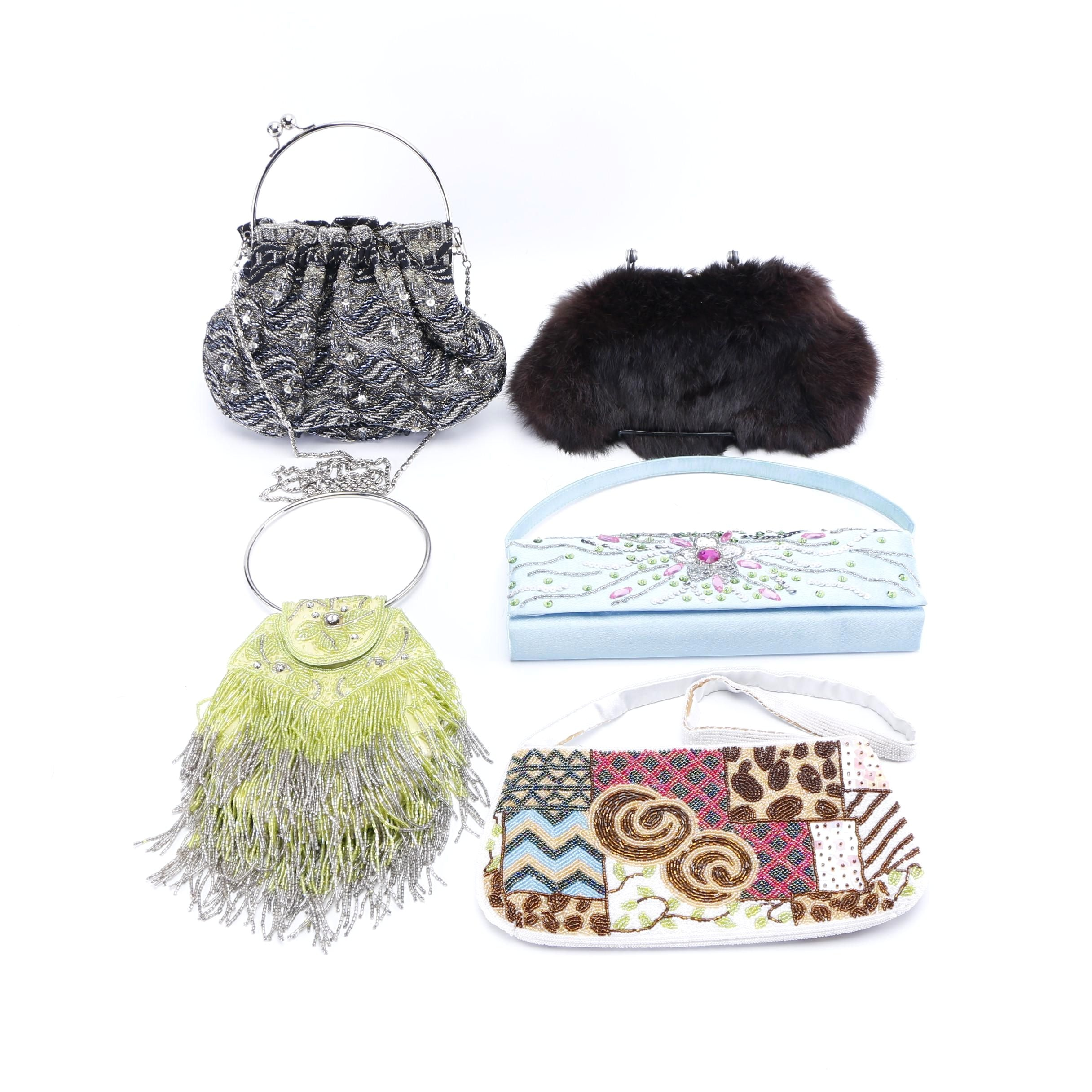 Beaded Evening Bags and Vintage Rabbit Fur Clutch