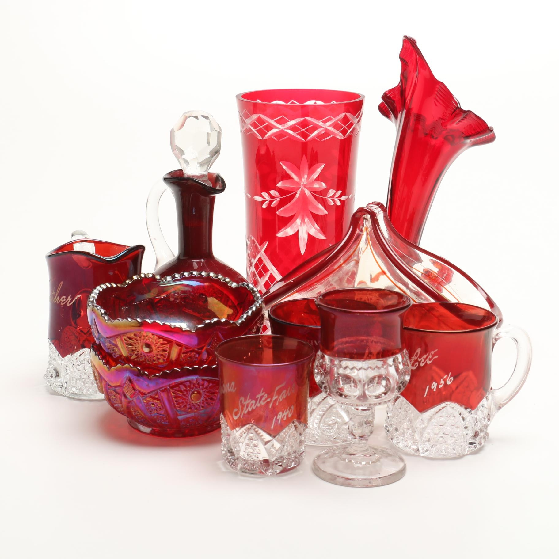 Ruby Red Pressed and Carnival Glass Selection